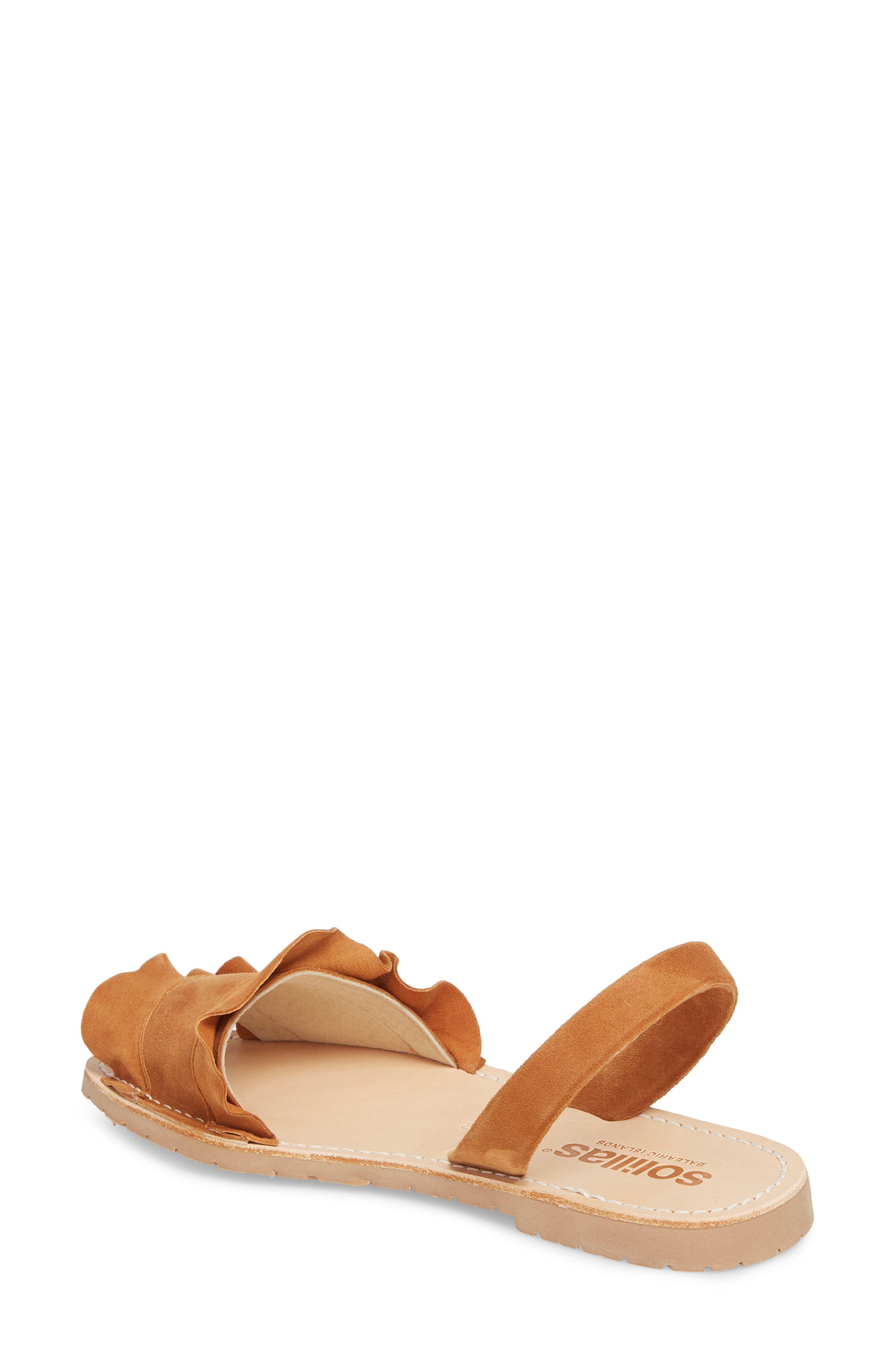 Frilled Flat Sandal,                             Alternate thumbnail 2, color,                             Tan