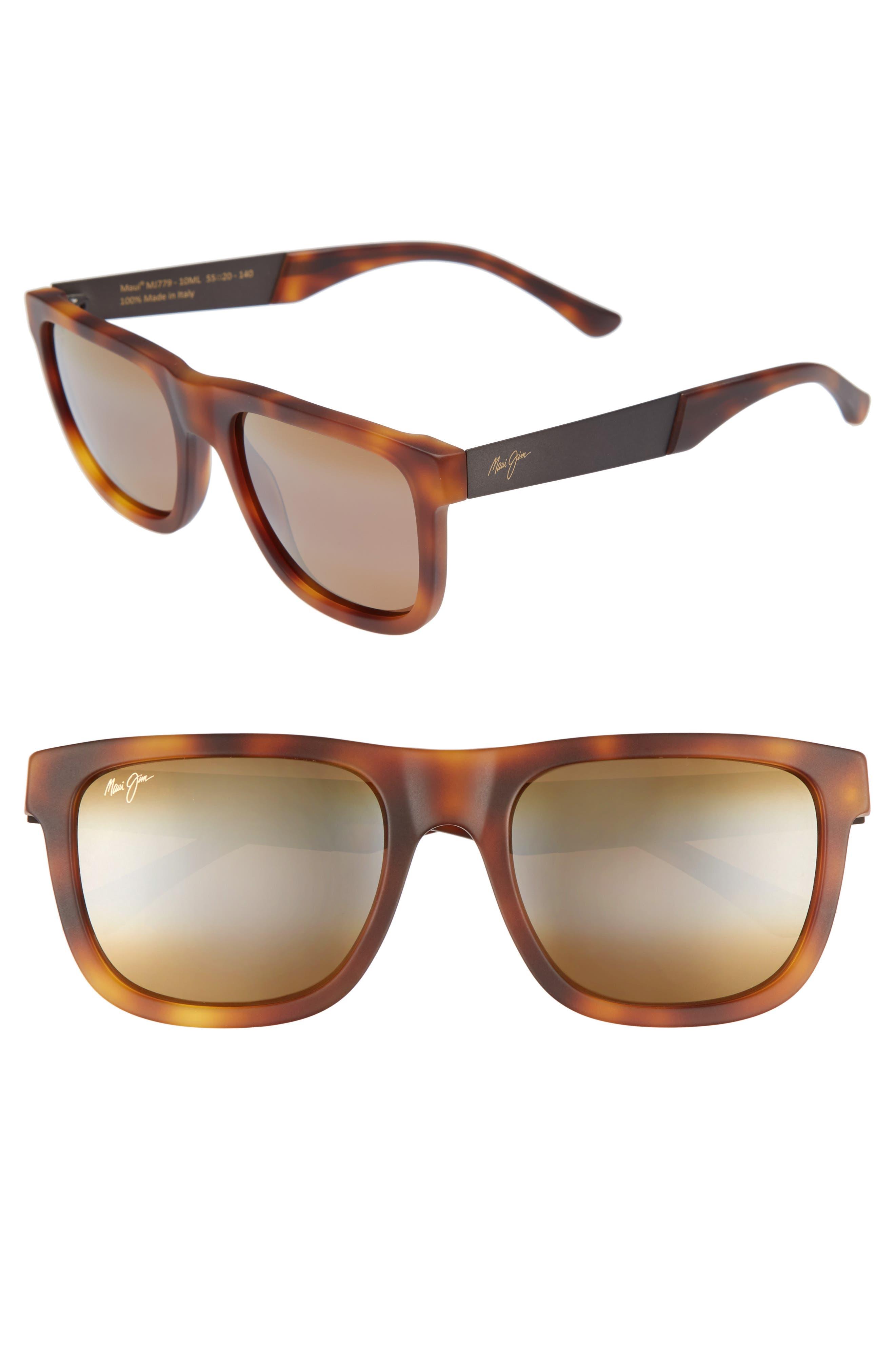 Talk Story 55mm Polarized Sunglasses,                             Main thumbnail 1, color,                             Matte Tokyo Tortoise/ Bronze
