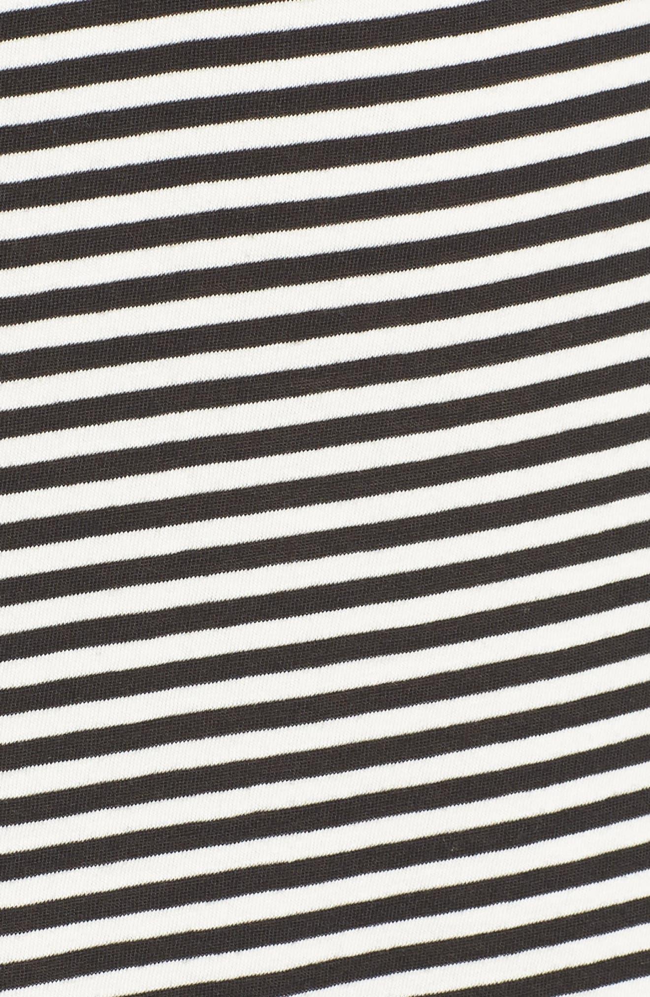 Boo Stripe High/Low Dress,                             Alternate thumbnail 6, color,                             Black Cat/ White Stripe