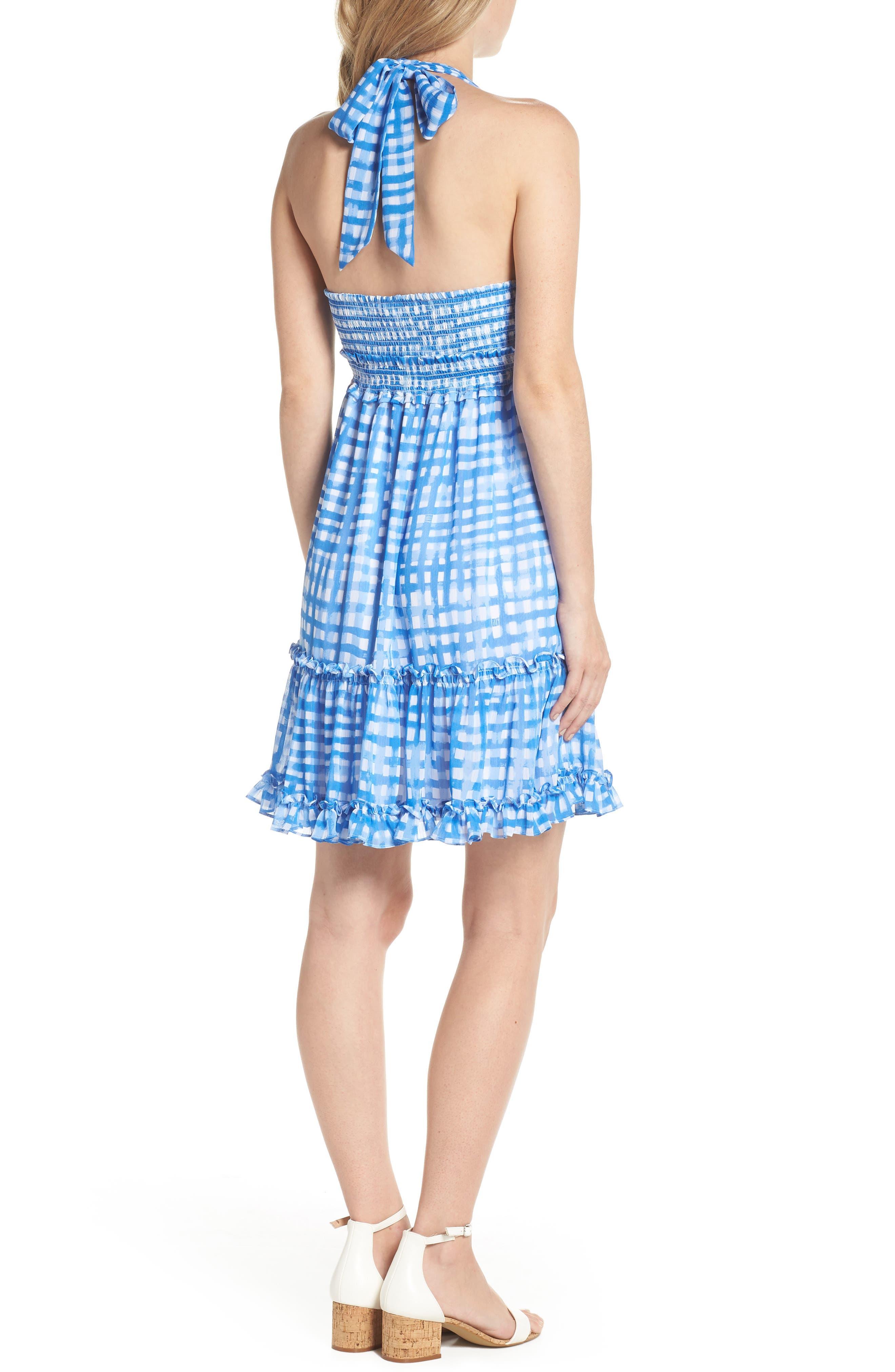 Cailee Halter Dress,                             Alternate thumbnail 2, color,                             Bennet Blue Feelin Beachy Gin