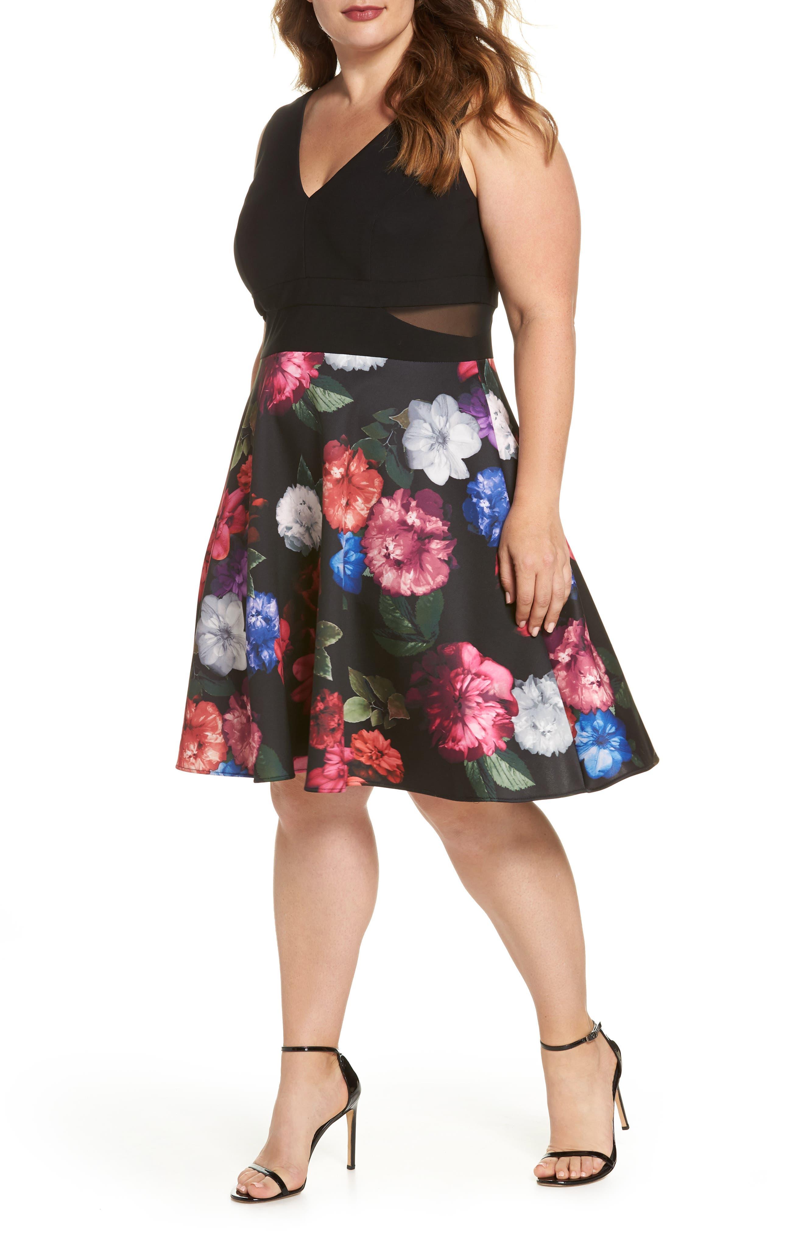 Xscape Floral Print Fit & Flare Dress (Plus Size)
