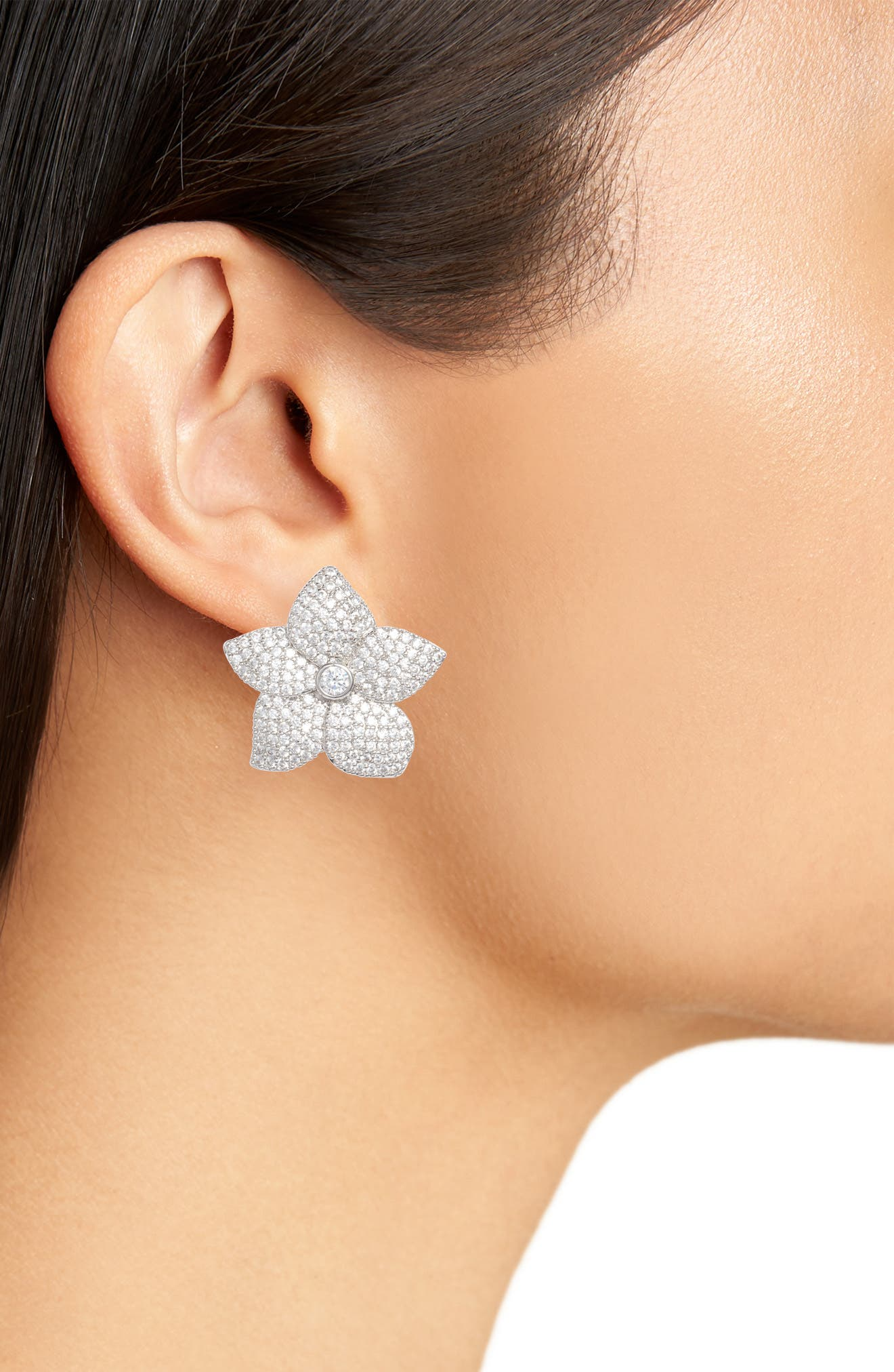 blooming pavé stud earrings,                             Alternate thumbnail 2, color,                             Clear/ Silver