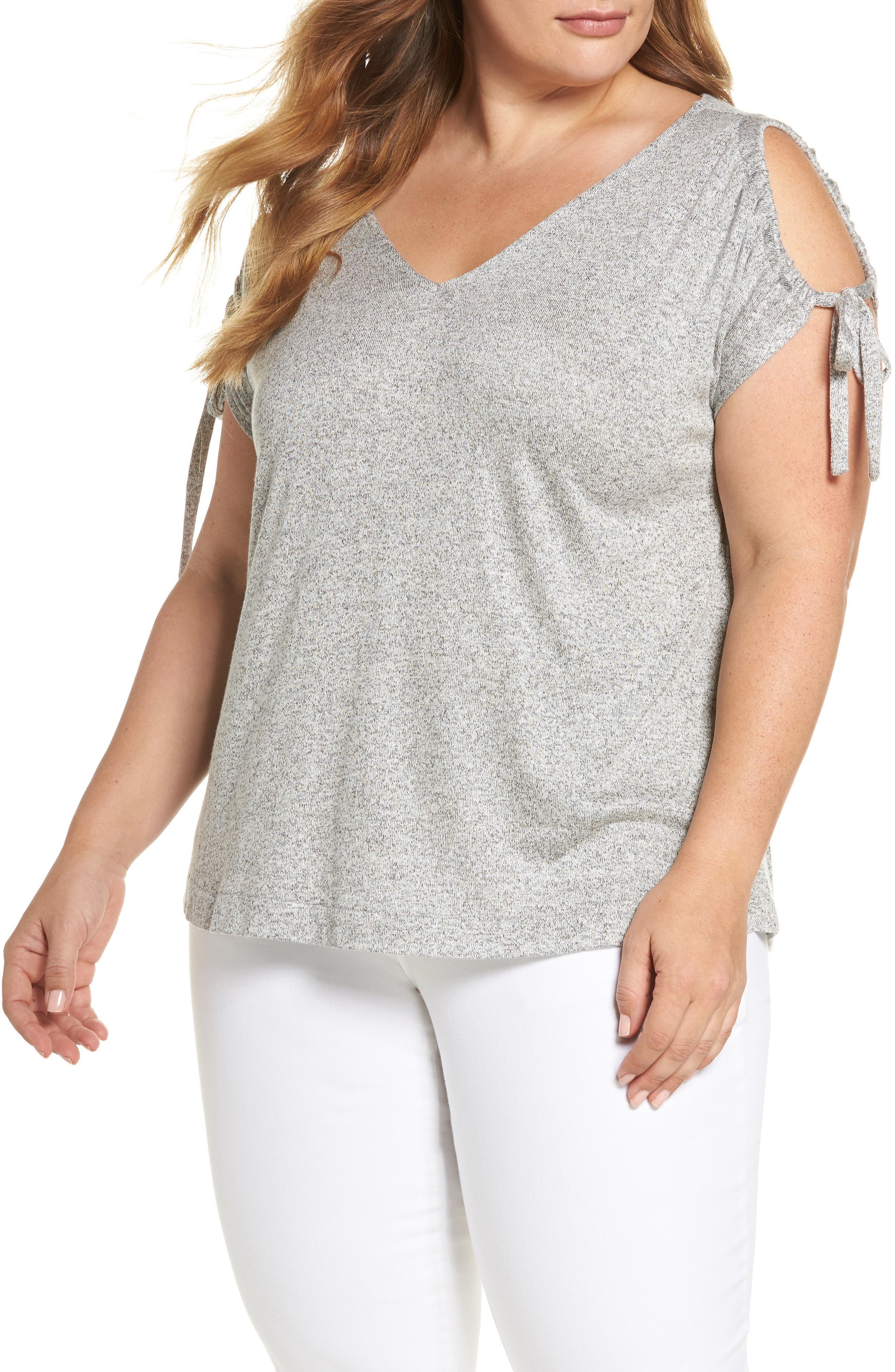 Alternate Image 1 Selected - Lucky Brand Tie Shoulder Top (Plus Size)