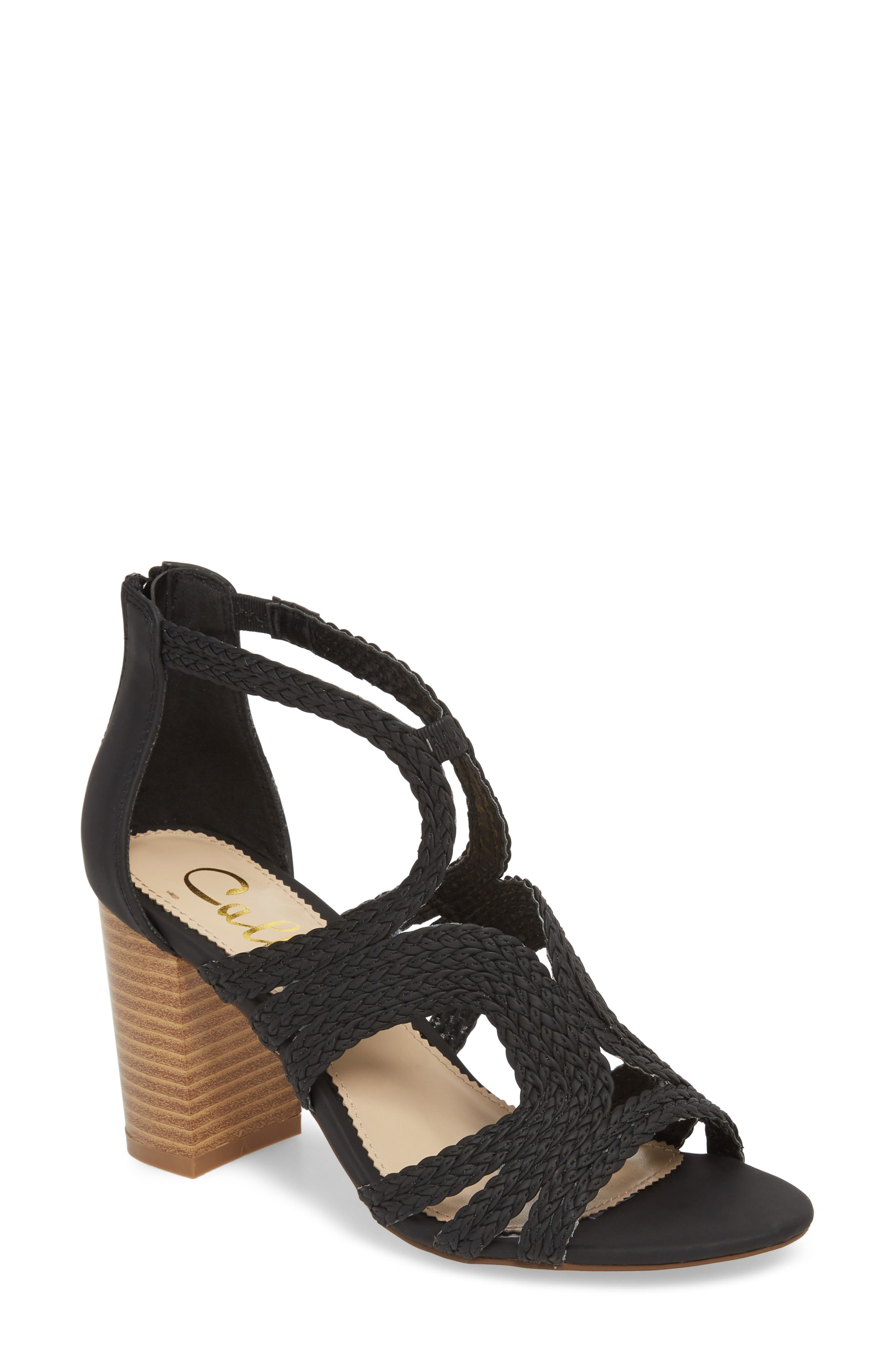 Shindig Block Heel Sandal,                             Main thumbnail 1, color,                             Black Fabric