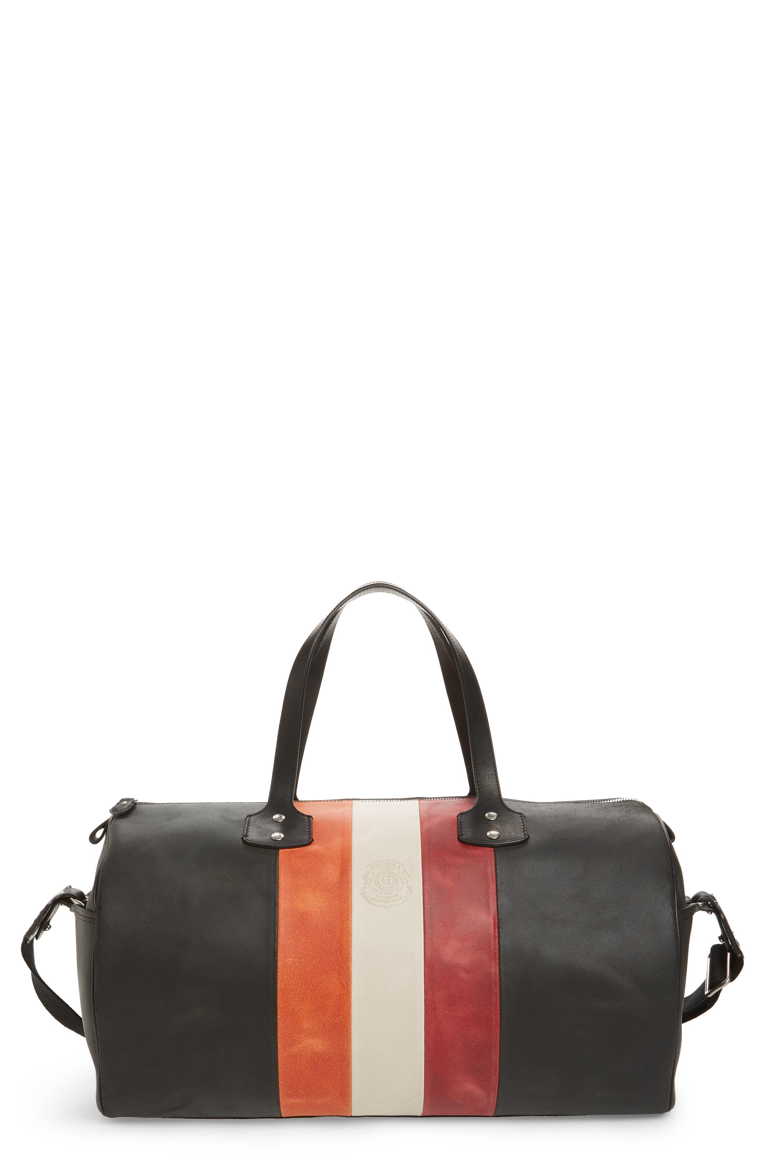 Ghurka Grove Stripe Leather Duffel Bag