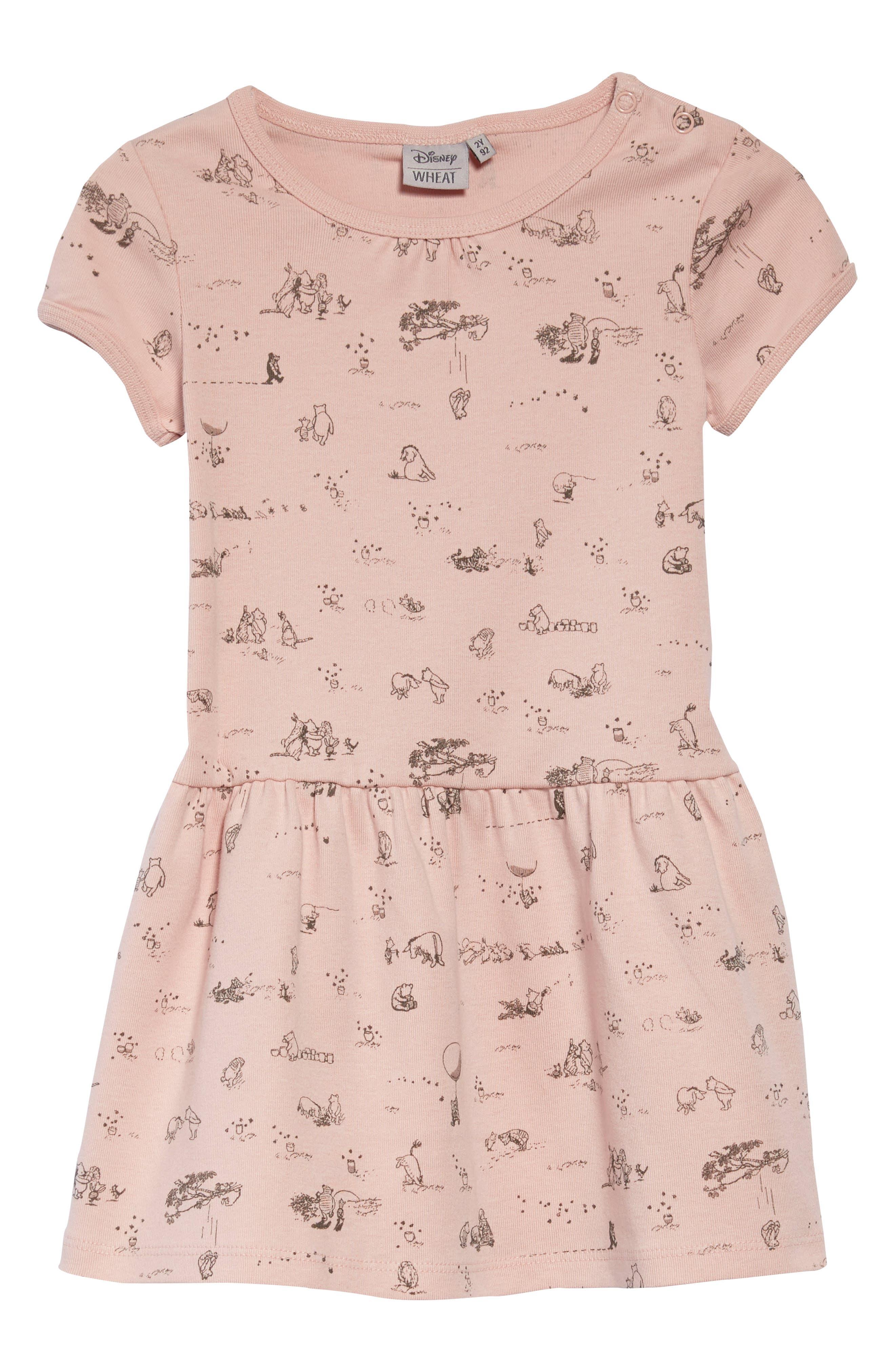 x Disney<sup>®</sup> Winnie the Pooh Print Dress,                             Main thumbnail 1, color,                             Powder