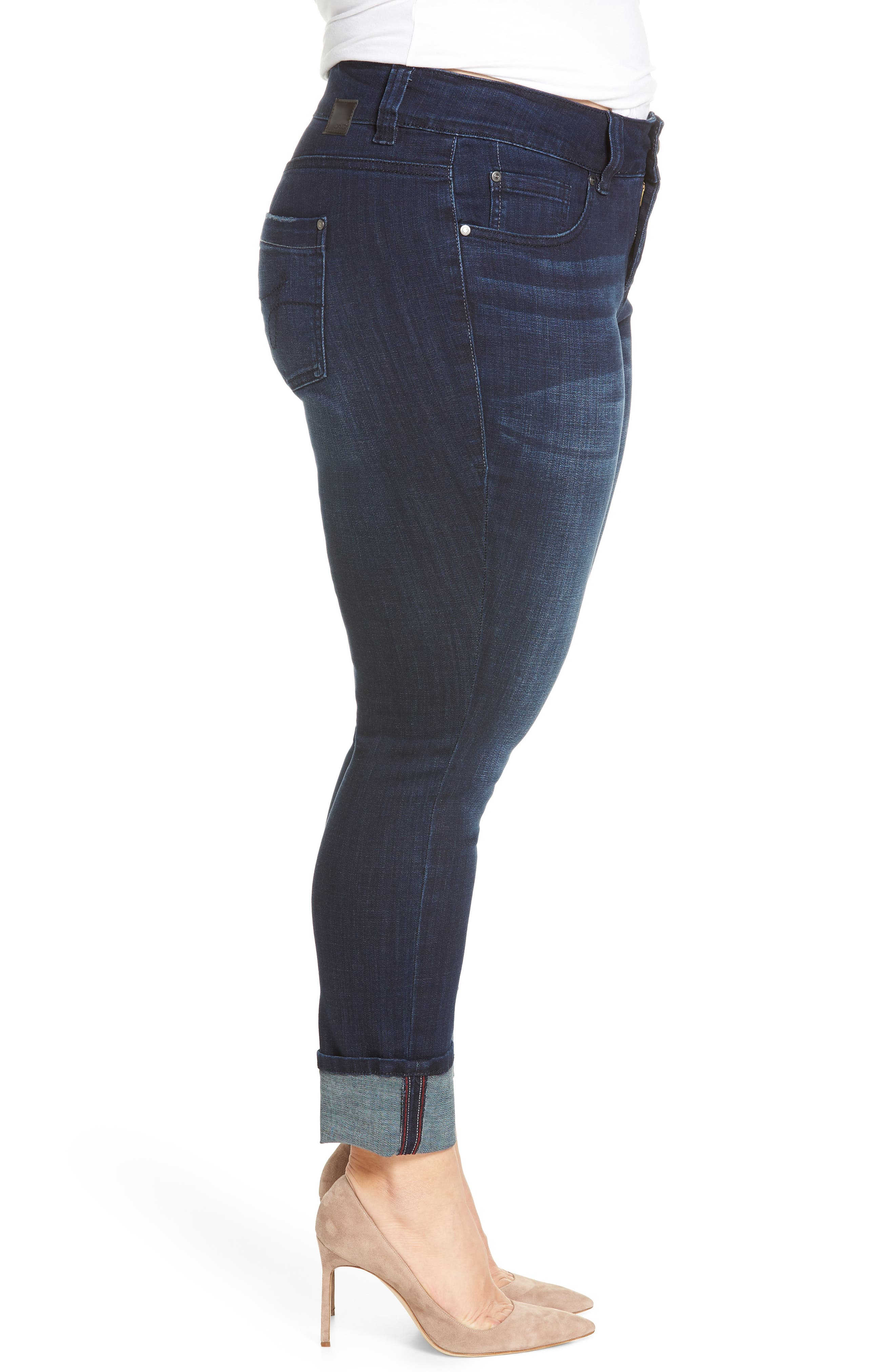 Maddie Cuff Skinny Jeans,                             Alternate thumbnail 3, color,                             Dark Indigo