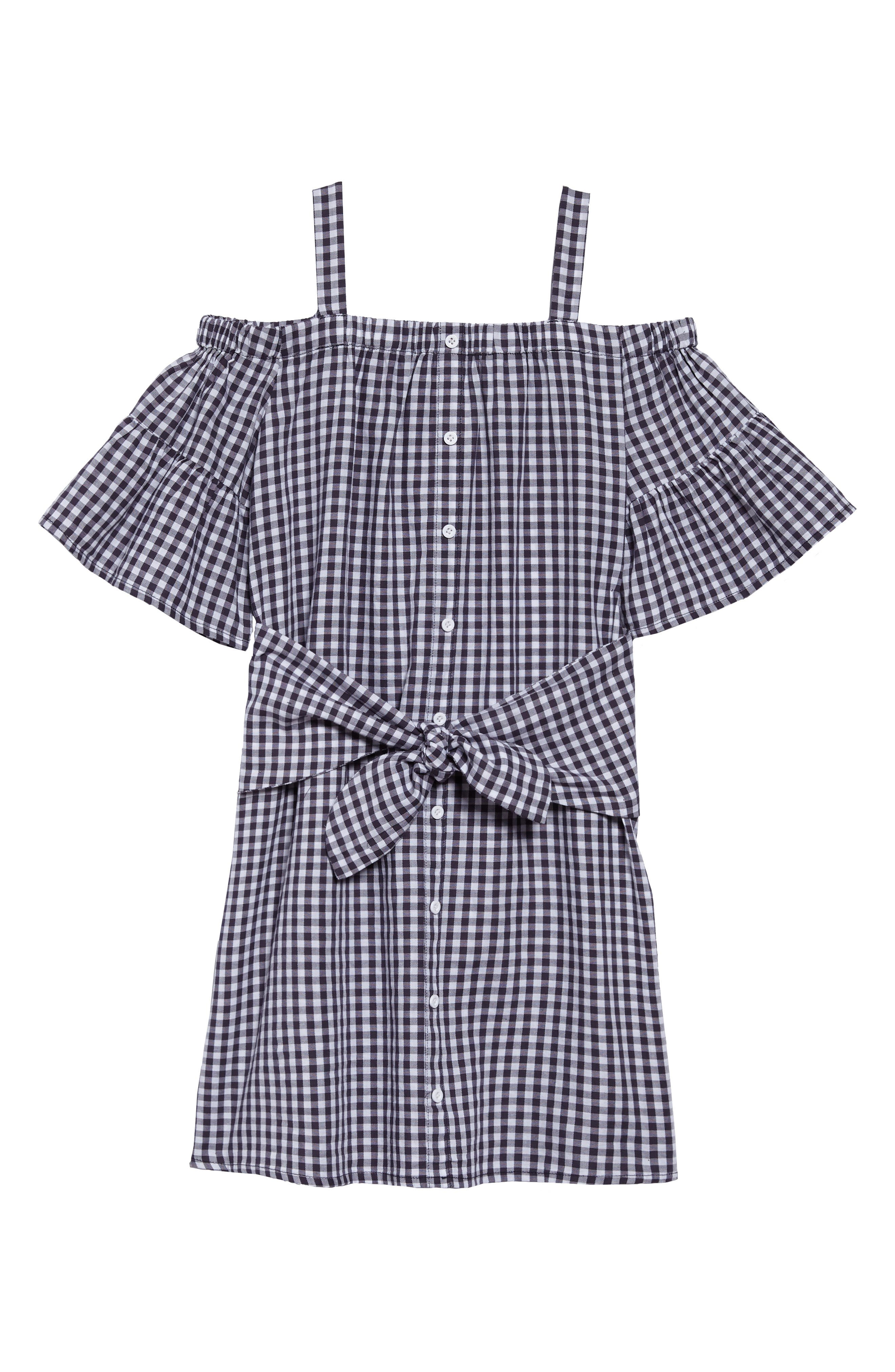 Jenny Check Cold Shoulder Dress,                             Main thumbnail 1, color,                             Plaid