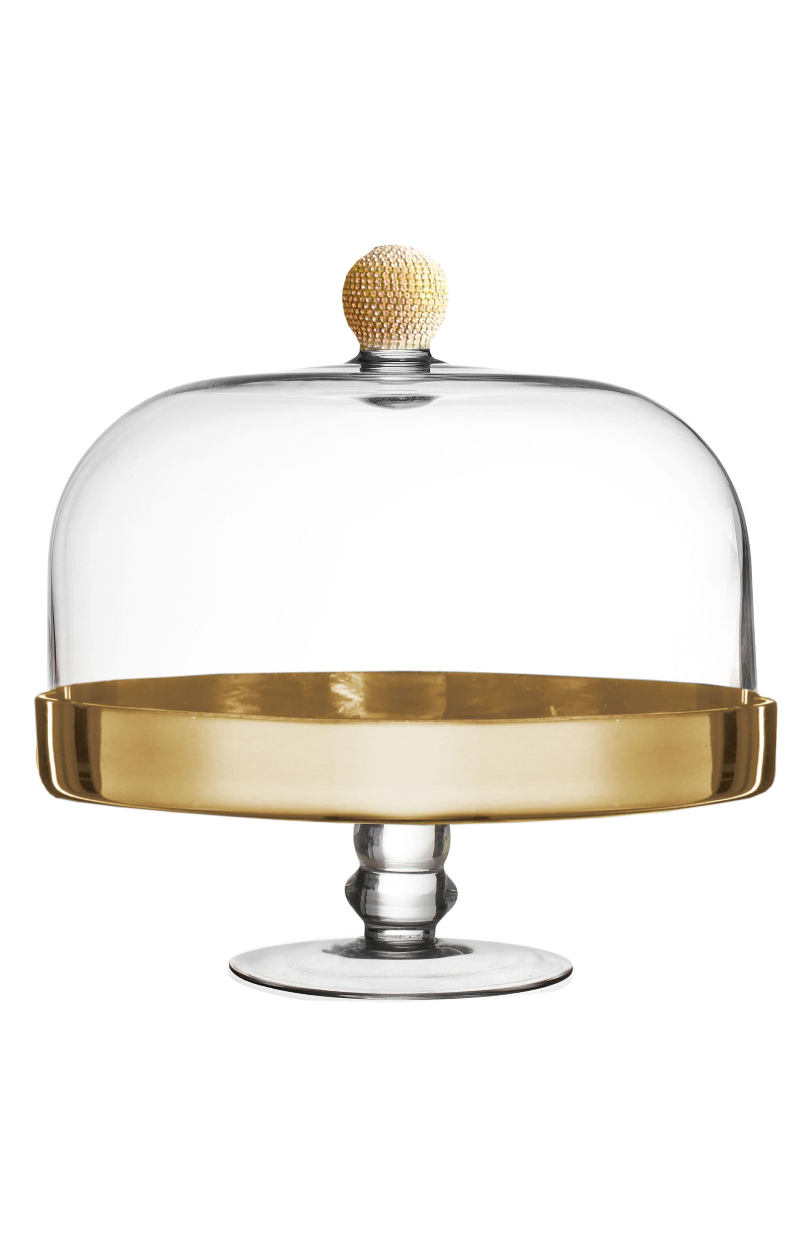 Gold Medley Pedestal Plate & Dome,                             Main thumbnail 1, color,                             Gold