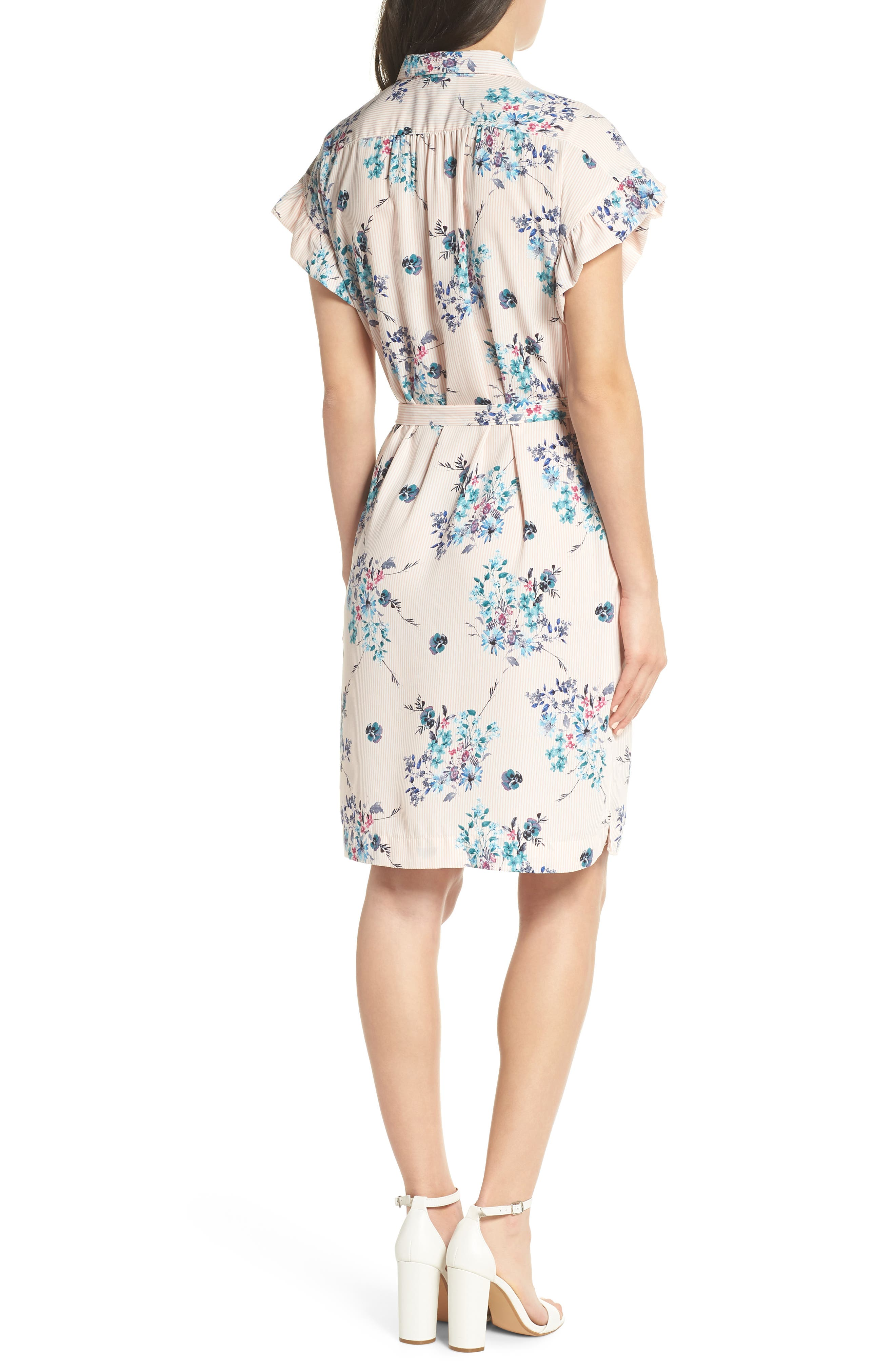 Alternate Image 2  - Mary & Mabel Ruffle Sleeve Shirt Dress