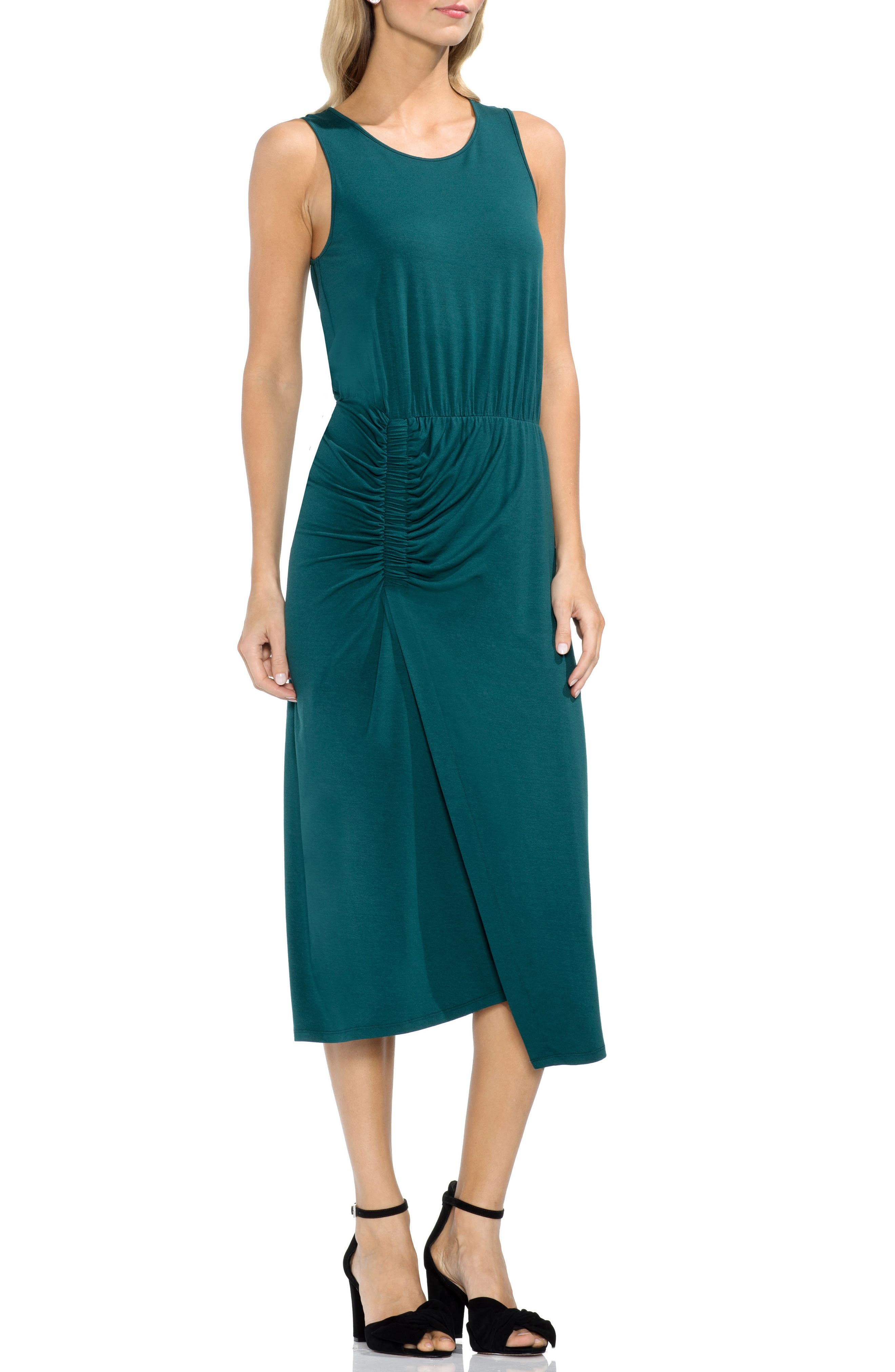 Ruched Midi Dress,                             Main thumbnail 1, color,                             Verdant Green