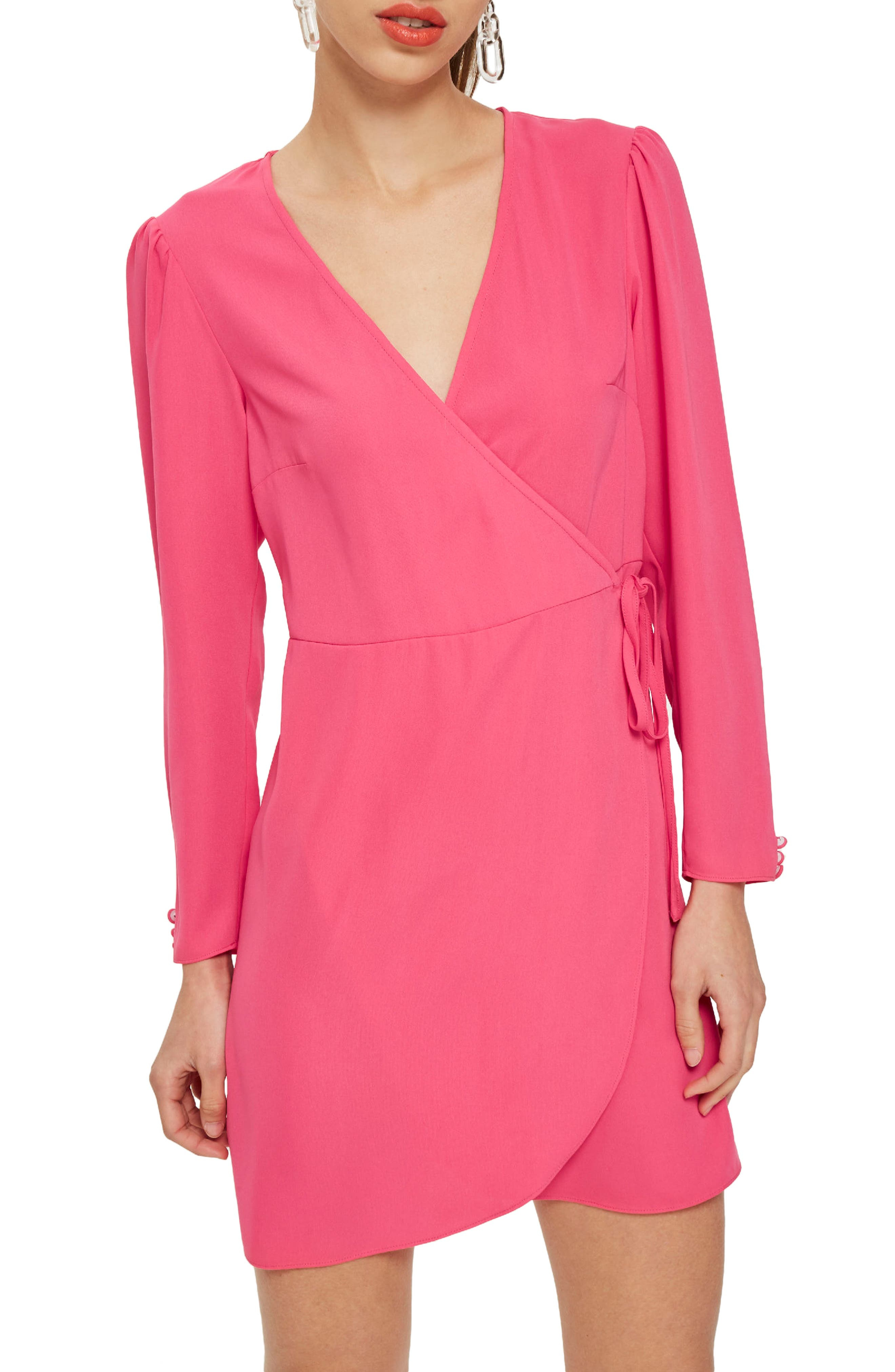 Crepe Wrap Minidress,                         Main,                         color, Bright Pink