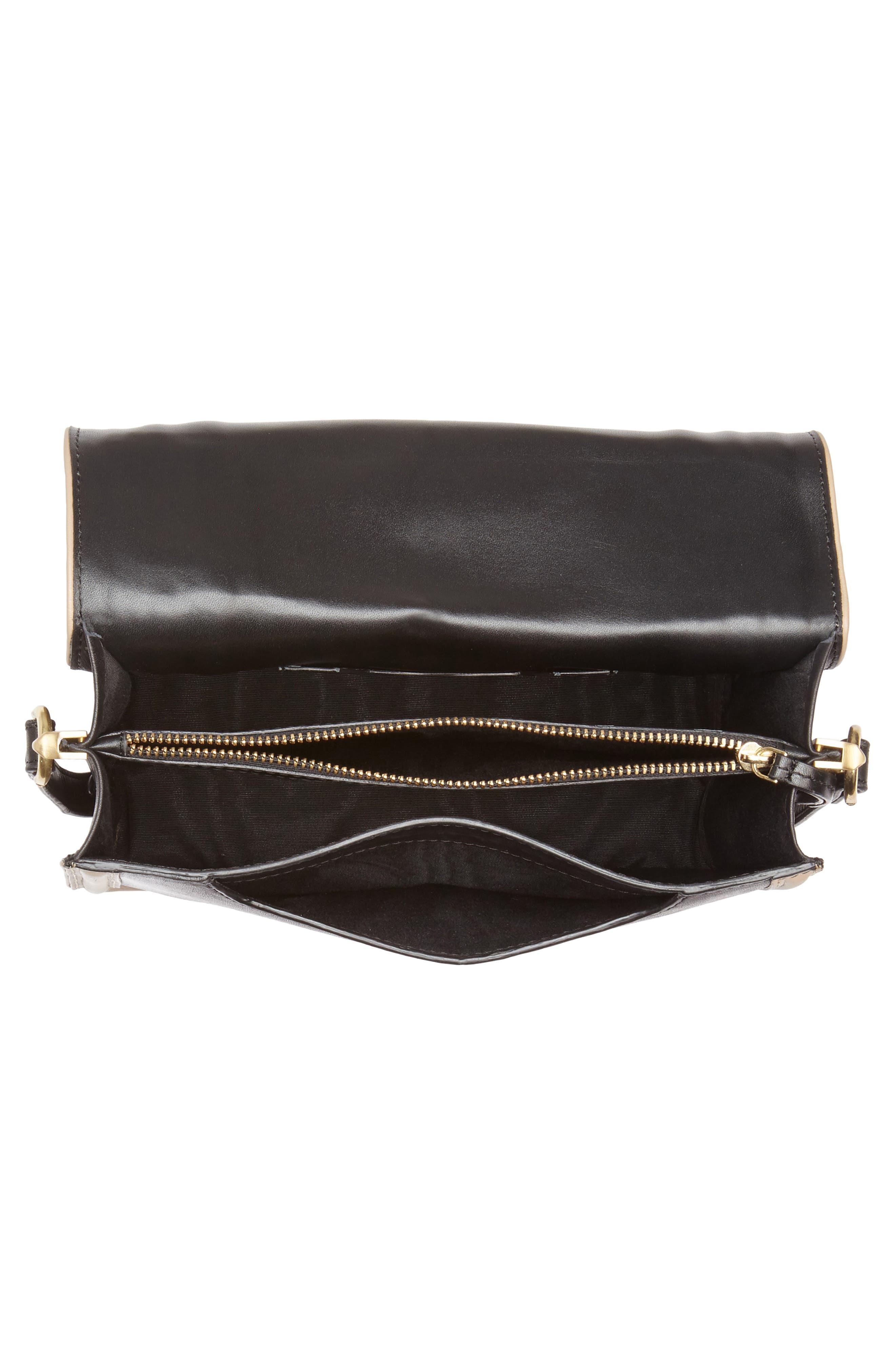 Small Square Top Handle Handbag,                             Alternate thumbnail 4, color,                             Black