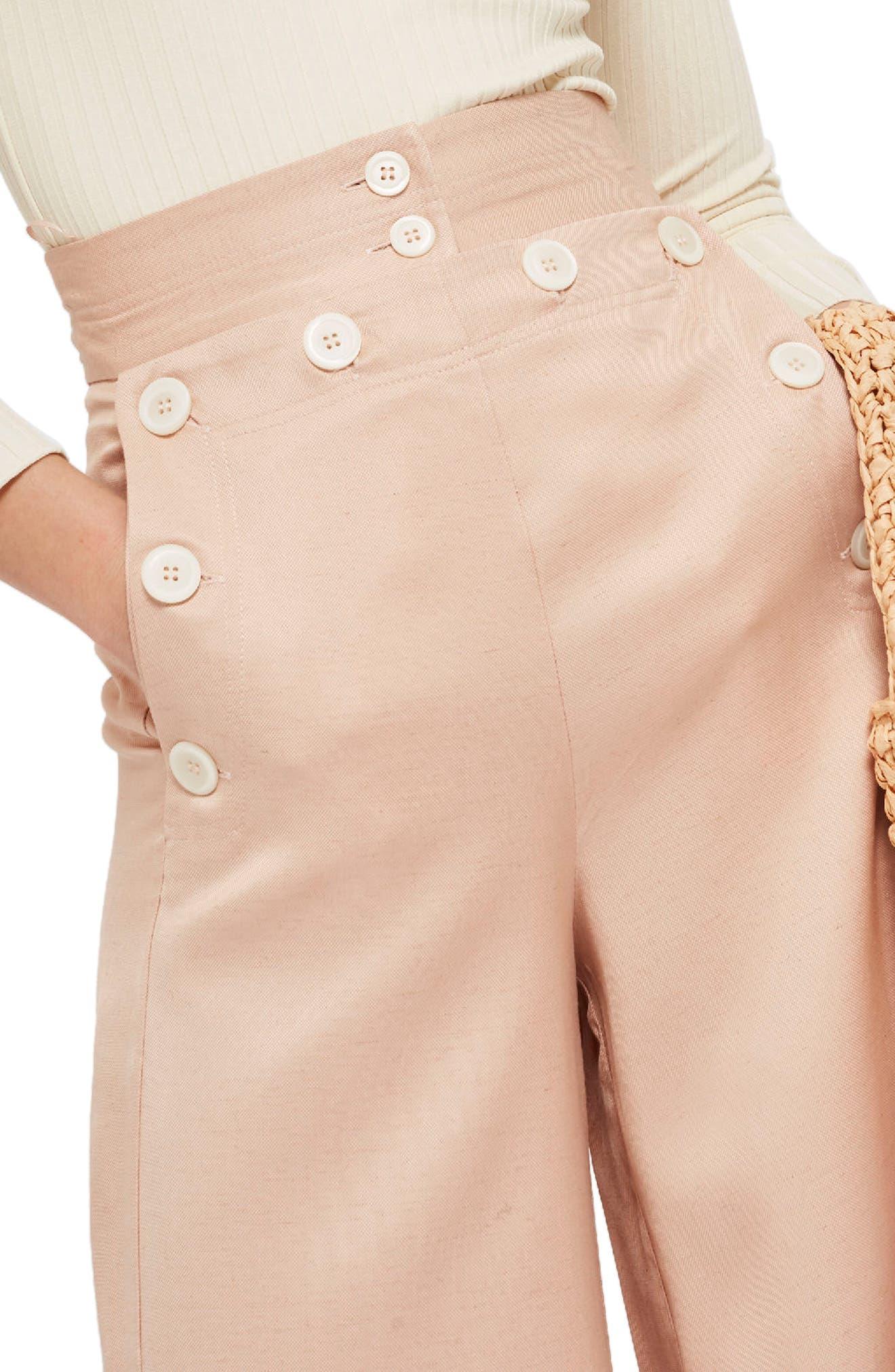 Wide Leg Sailor Trousers,                             Alternate thumbnail 3, color,                             Pink