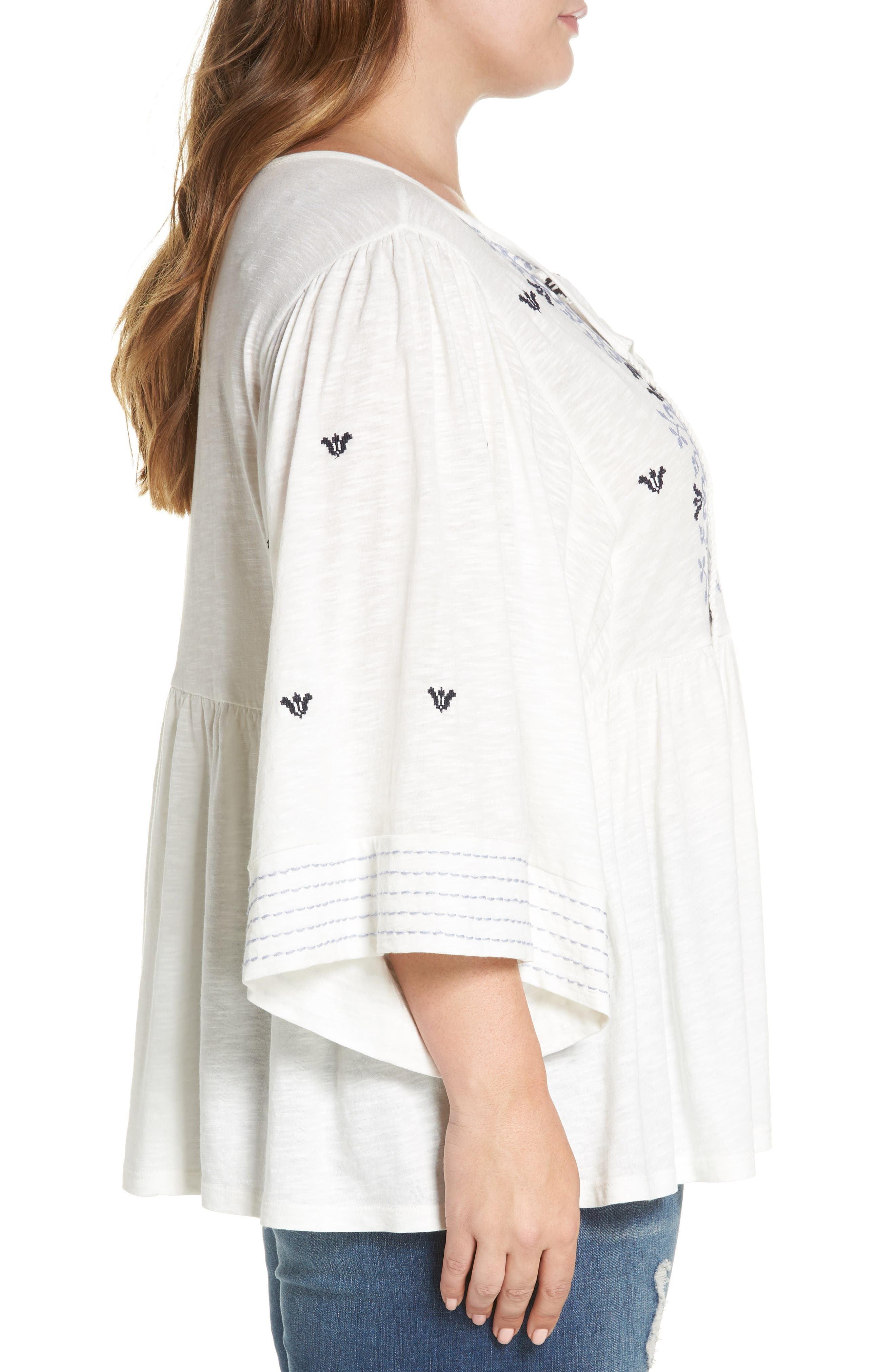 Embroidered Peasant Top,                             Alternate thumbnail 3, color,                             Ivory- Blue Aria