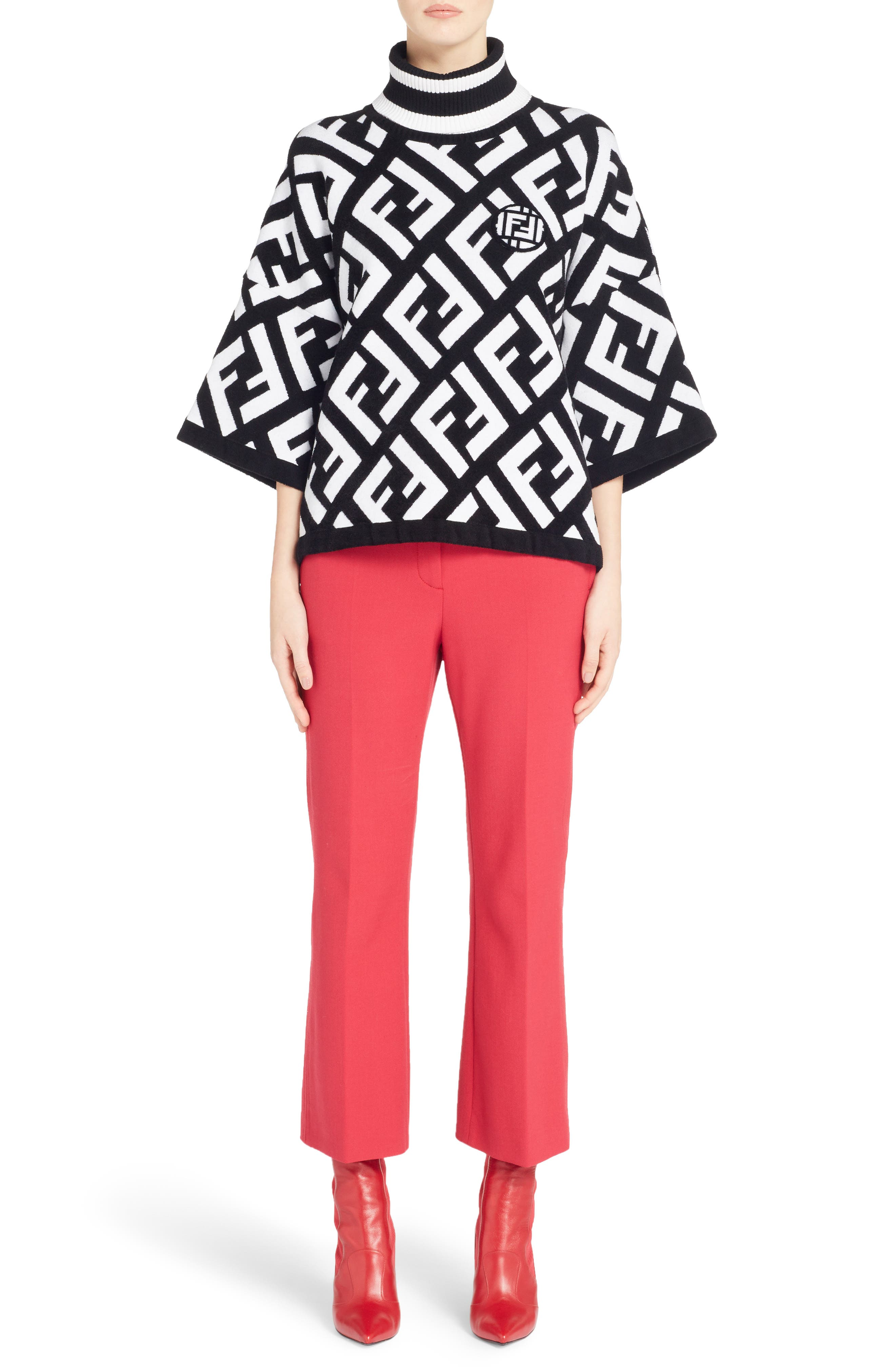 Stretch Drill Crop Flare Pants,                             Alternate thumbnail 9, color,                             Red