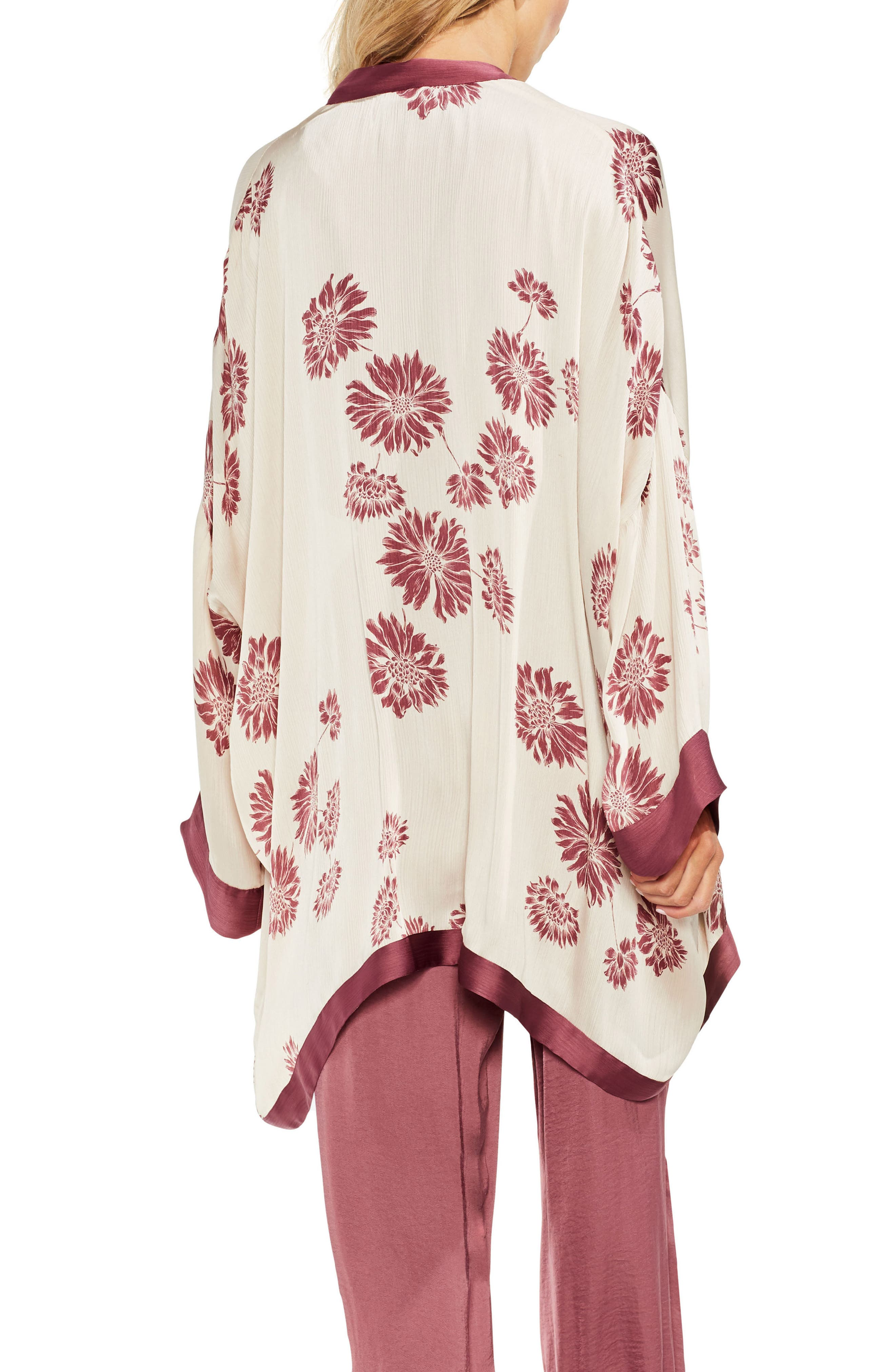 Chateau Sketch Floral Kimono,                             Alternate thumbnail 2, color,                             Rich Cream