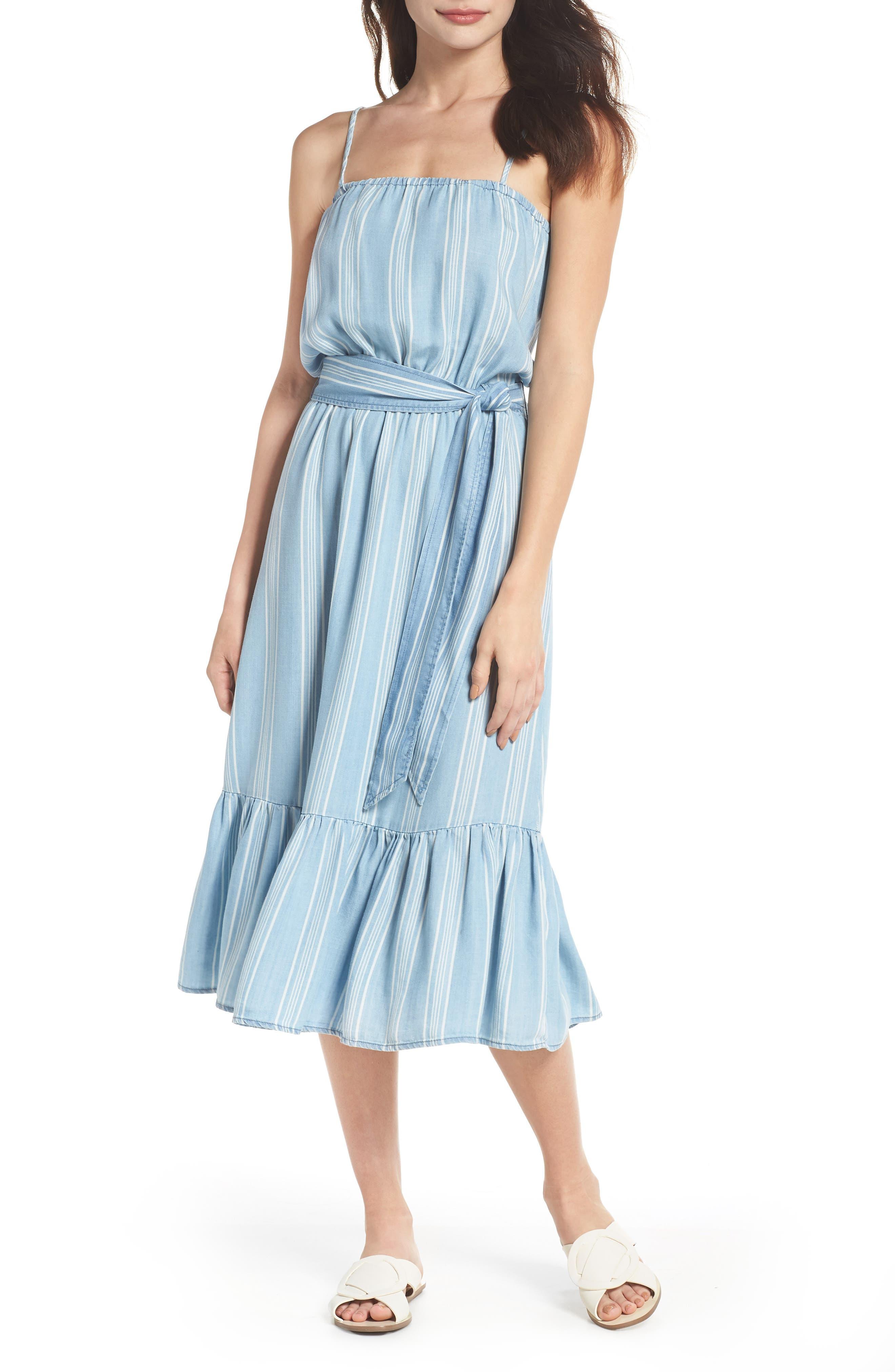 Tailyn Stripe Midi Dress,                             Main thumbnail 1, color,                             Chambray