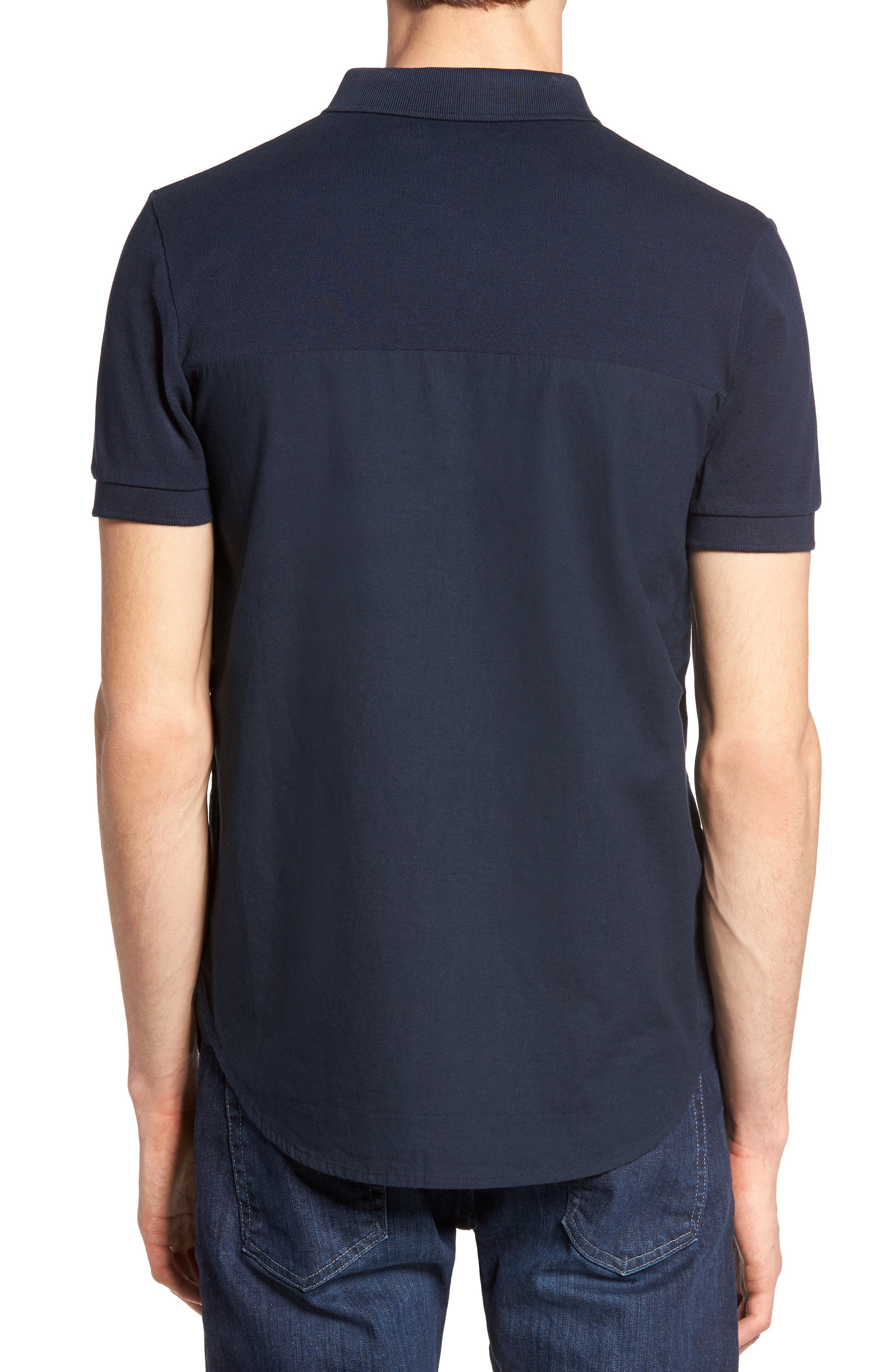 Slim Fit Short Sleeve Sport Shirt,                             Alternate thumbnail 3, color,                             Marine Blue