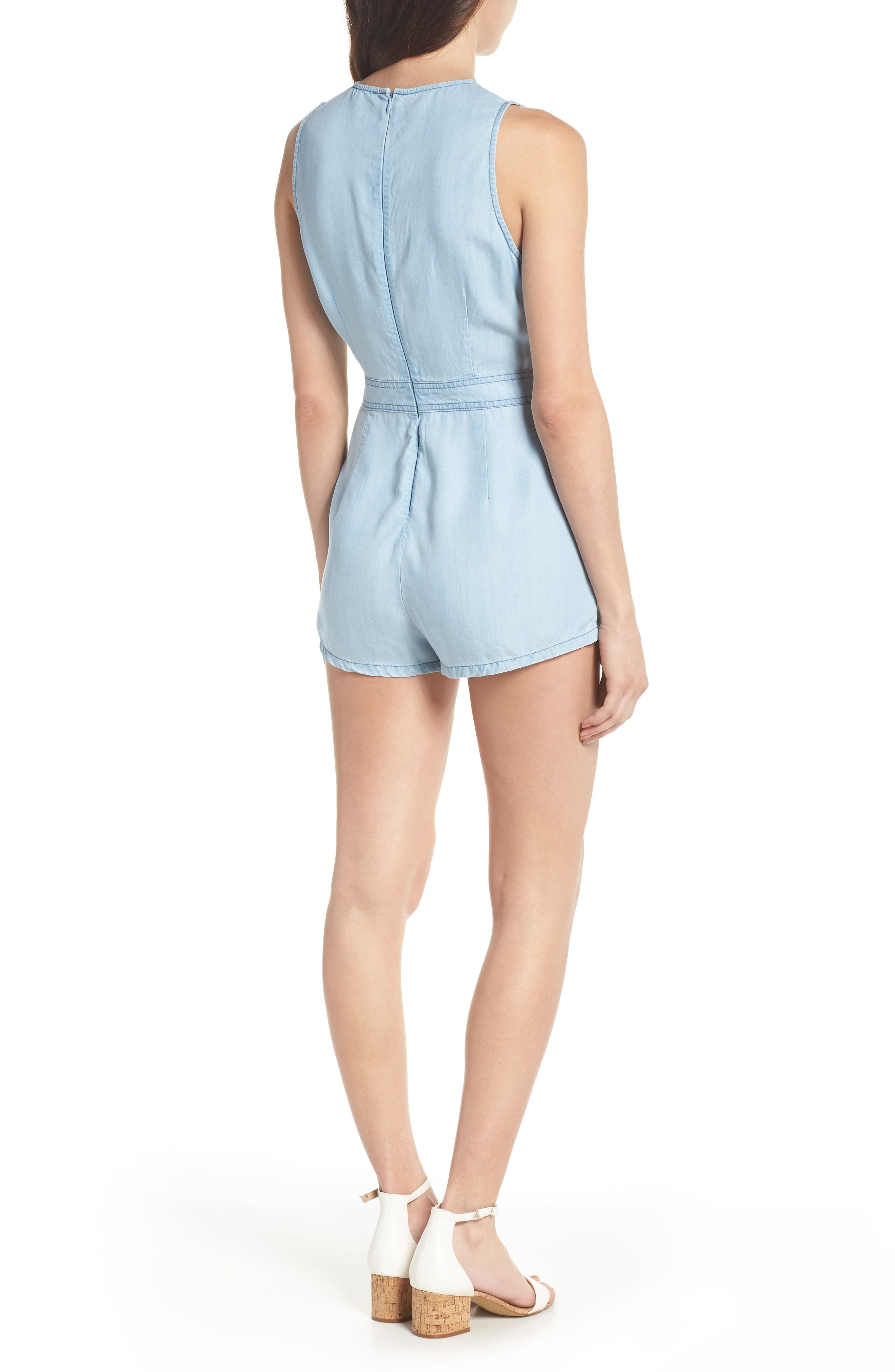 Chambray Romper,                             Alternate thumbnail 2, color,                             Chambray