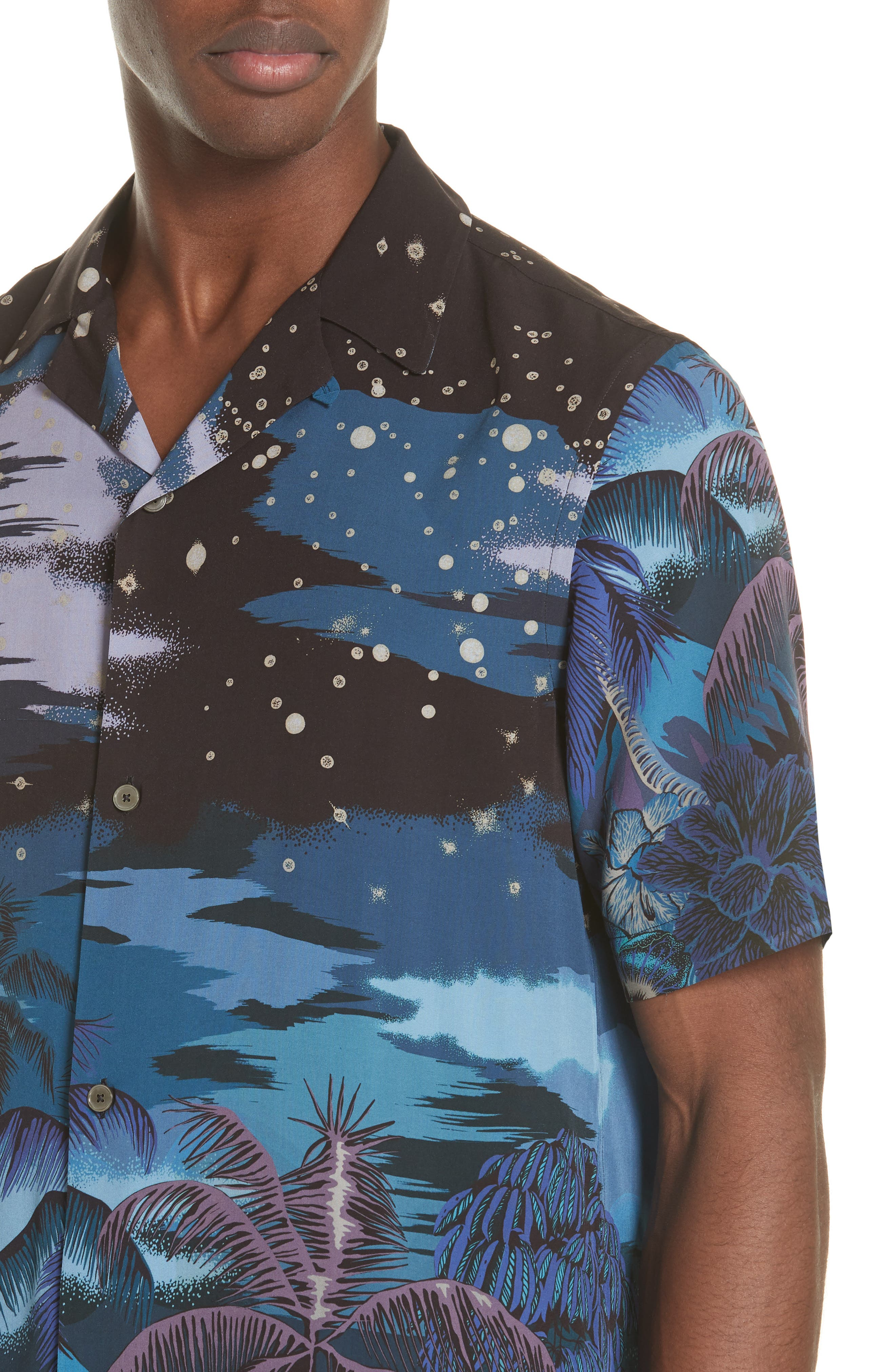 Palm Tree Print Shirt,                             Alternate thumbnail 2, color,                             47 Midnight
