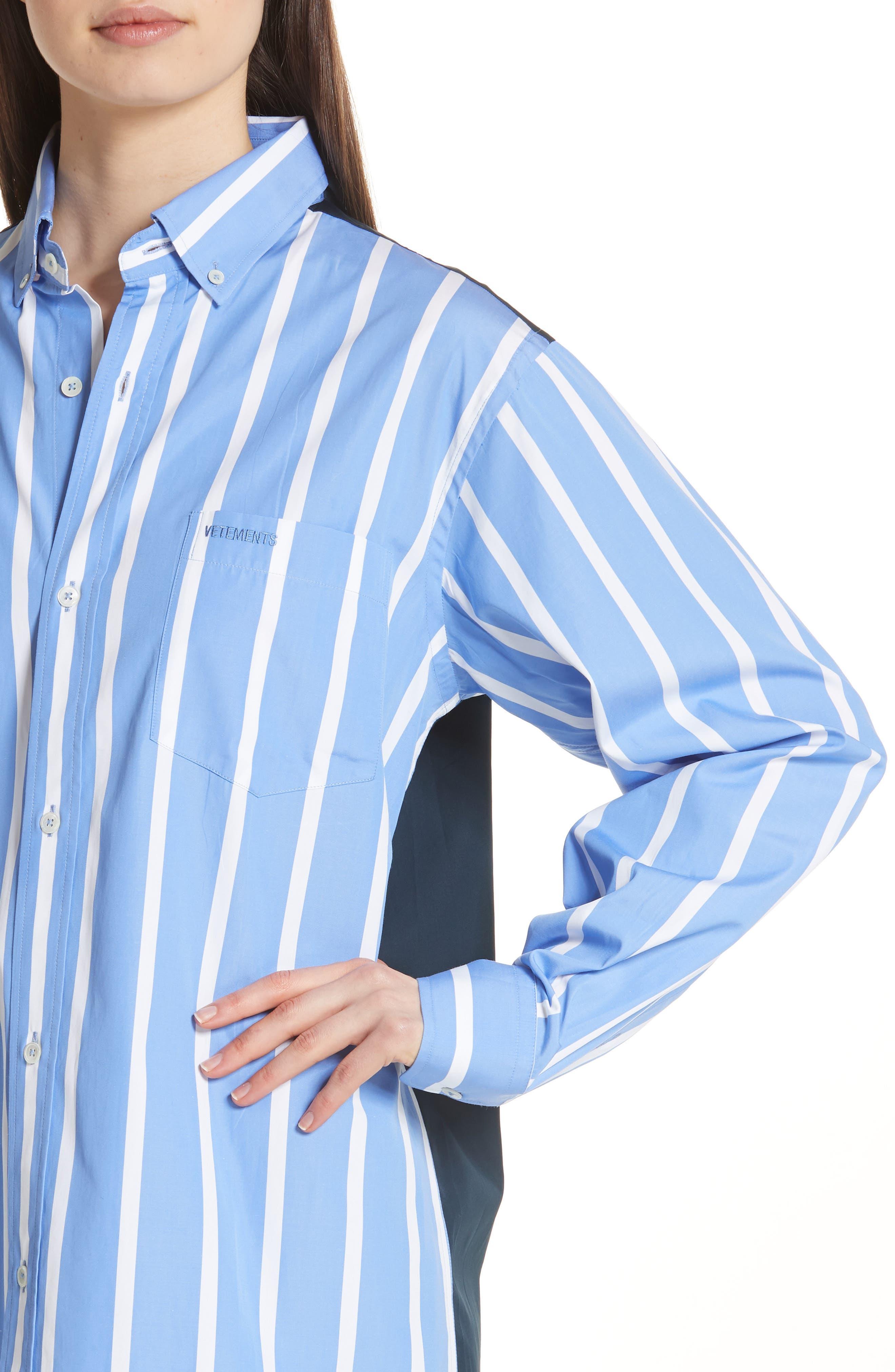 Front to Back Cotton Shirt,                             Alternate thumbnail 4, color,                             Blue Stripe
