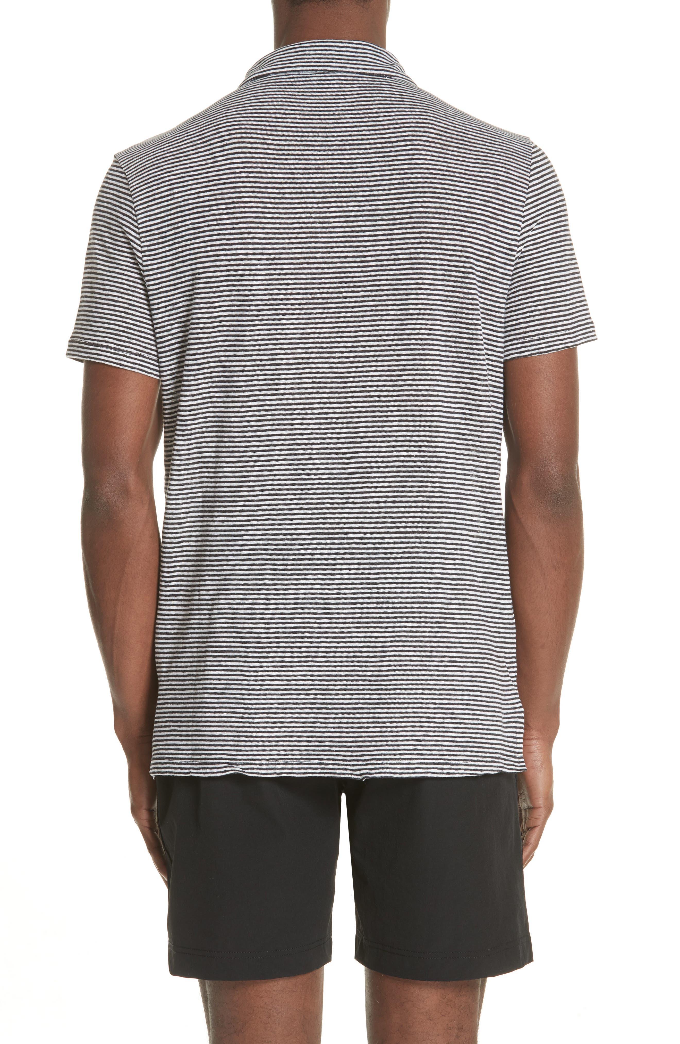 Shaun Stripe Polo,                             Alternate thumbnail 2, color,                             Black/ White
