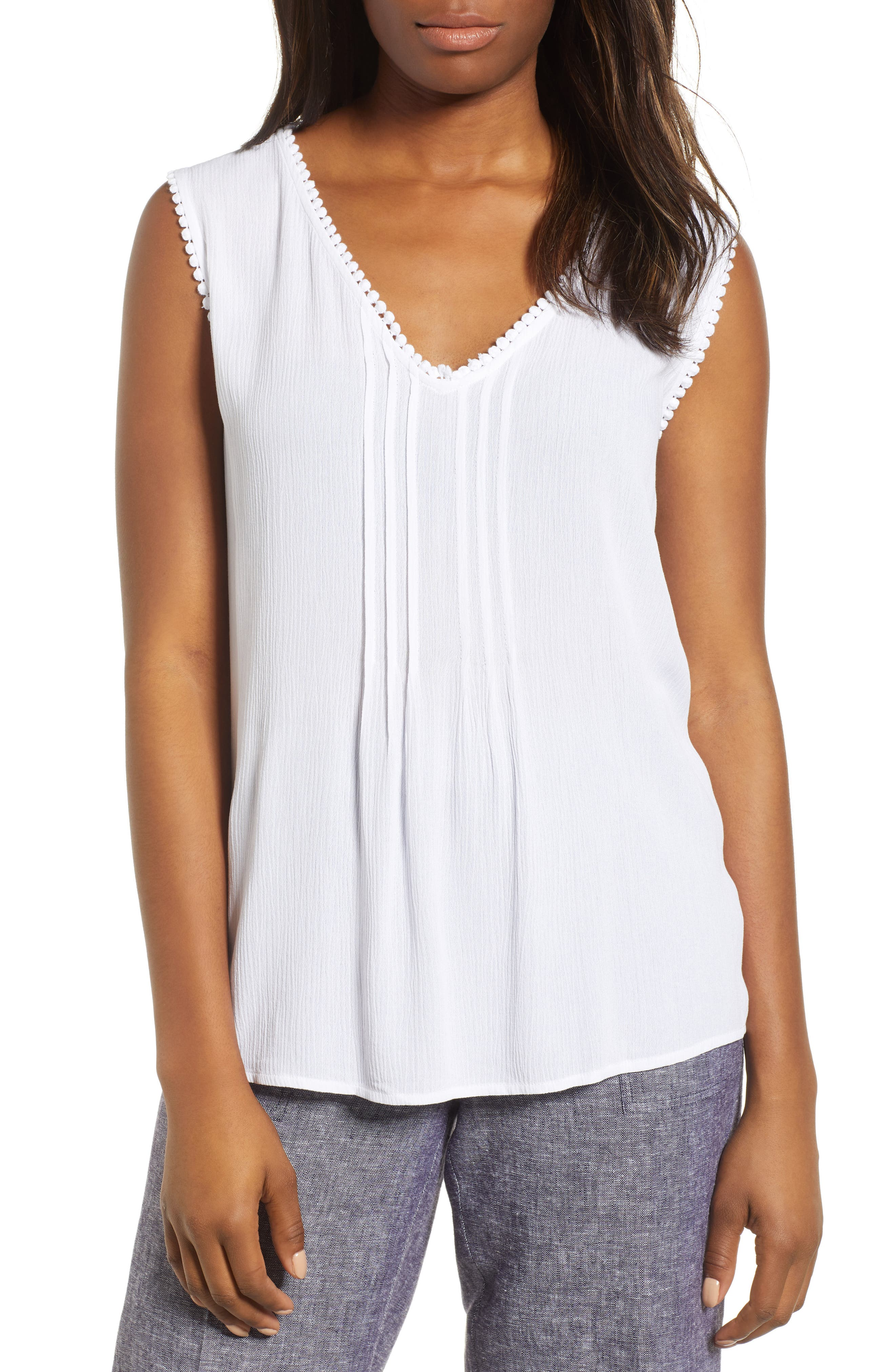 Pintuck Gauze Top,                         Main,                         color, Ultra White