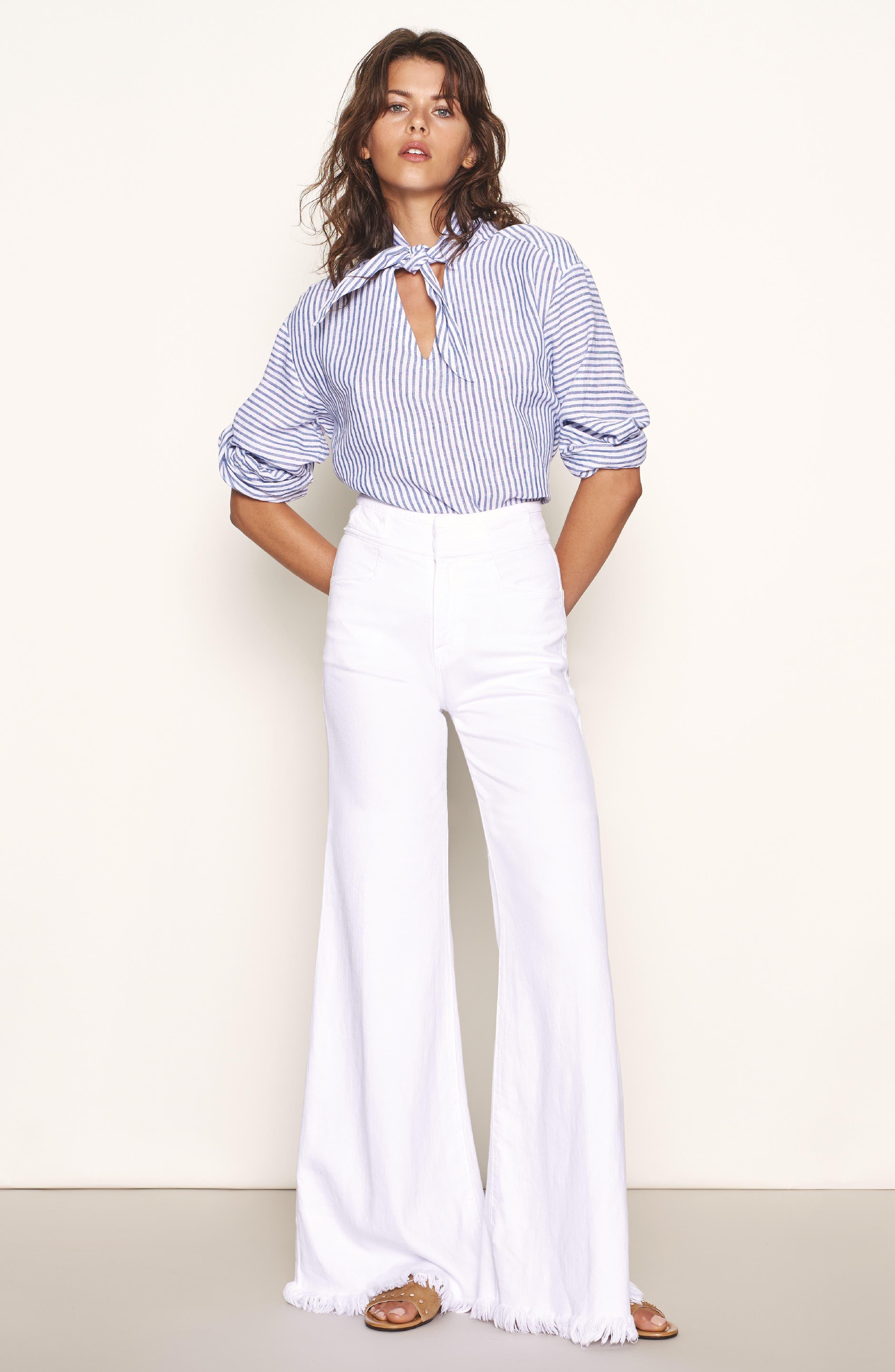 Stripe Handkerchief Blouse,                             Alternate thumbnail 2, color,                             Medium Blue Multi