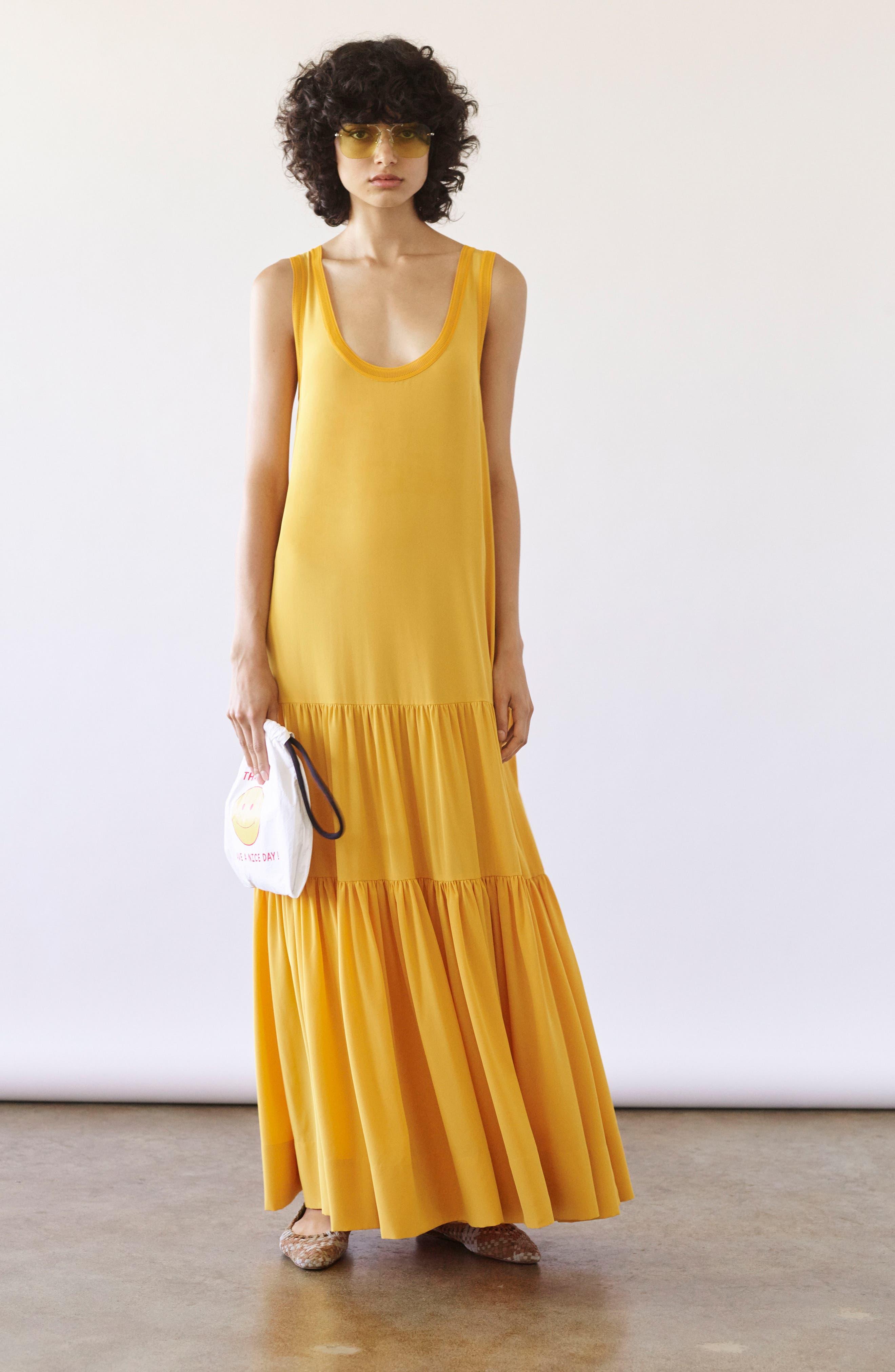 Hazel Silk Tank Dress,                             Alternate thumbnail 2, color,                             Saffron