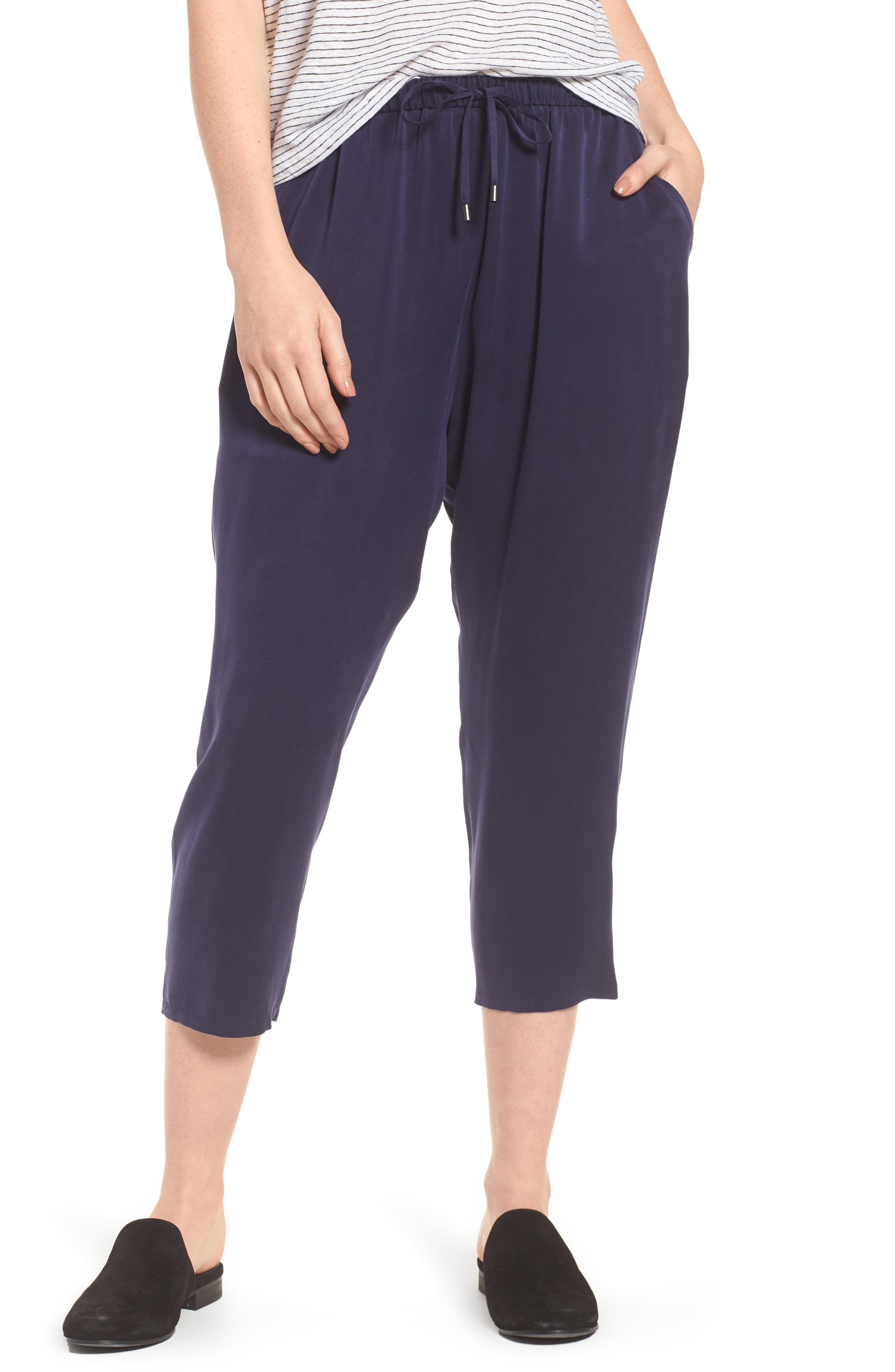 Slouchy Silk Crop Pants,                         Main,                         color, Salt Lake