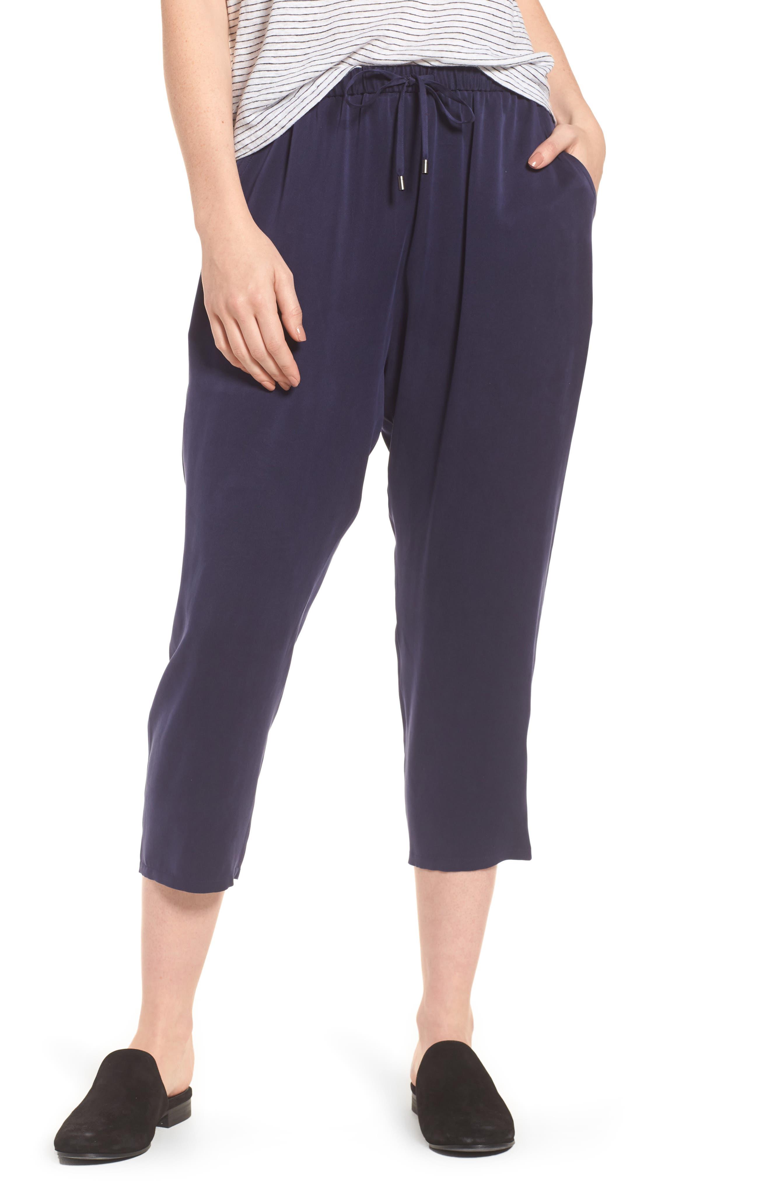 Eileen Fisher Slouchy Silk Crop Pants