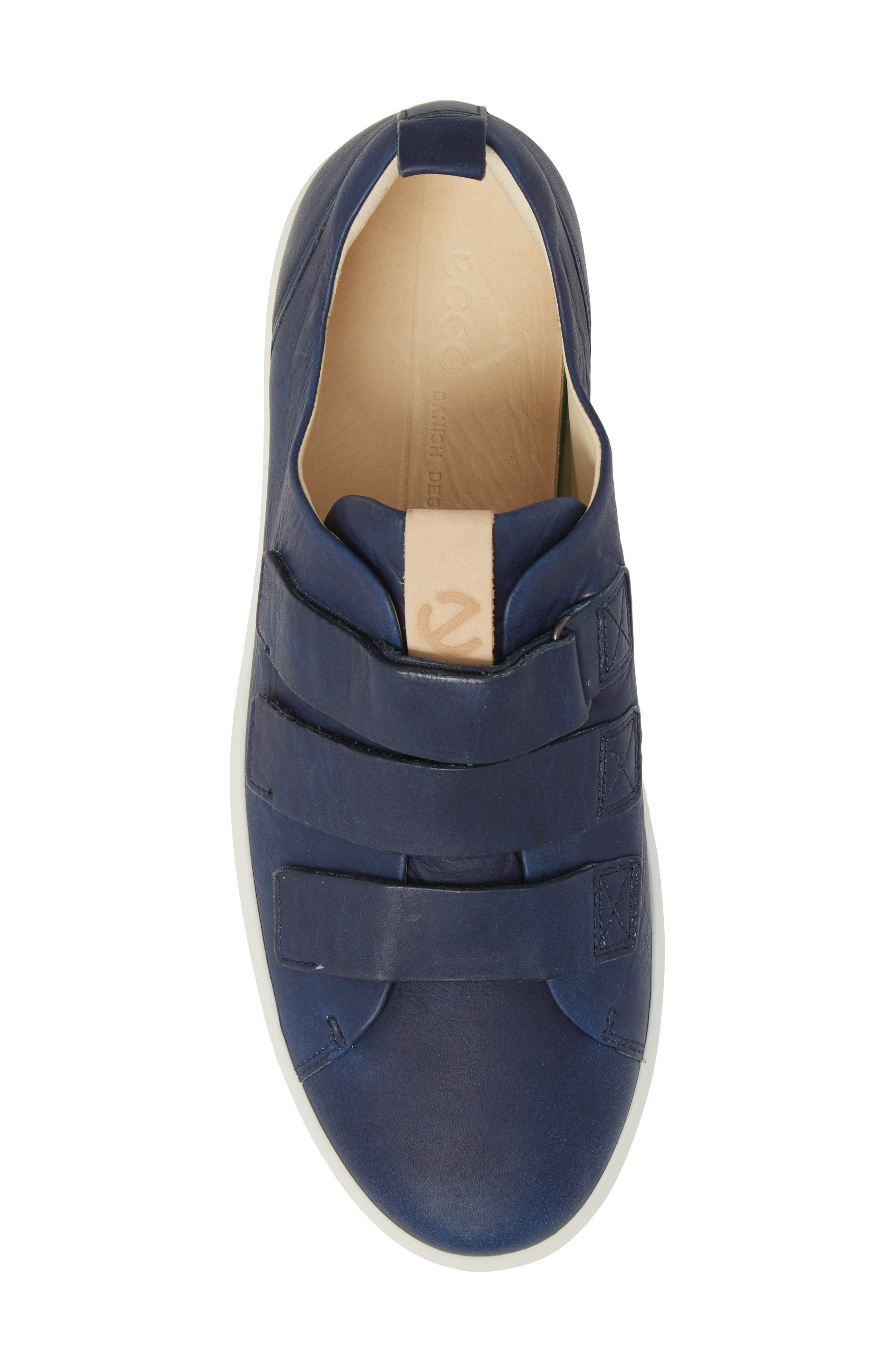 Soft 8 Strap Sneaker,                             Alternate thumbnail 5, color,                             Indigo 7 Leather
