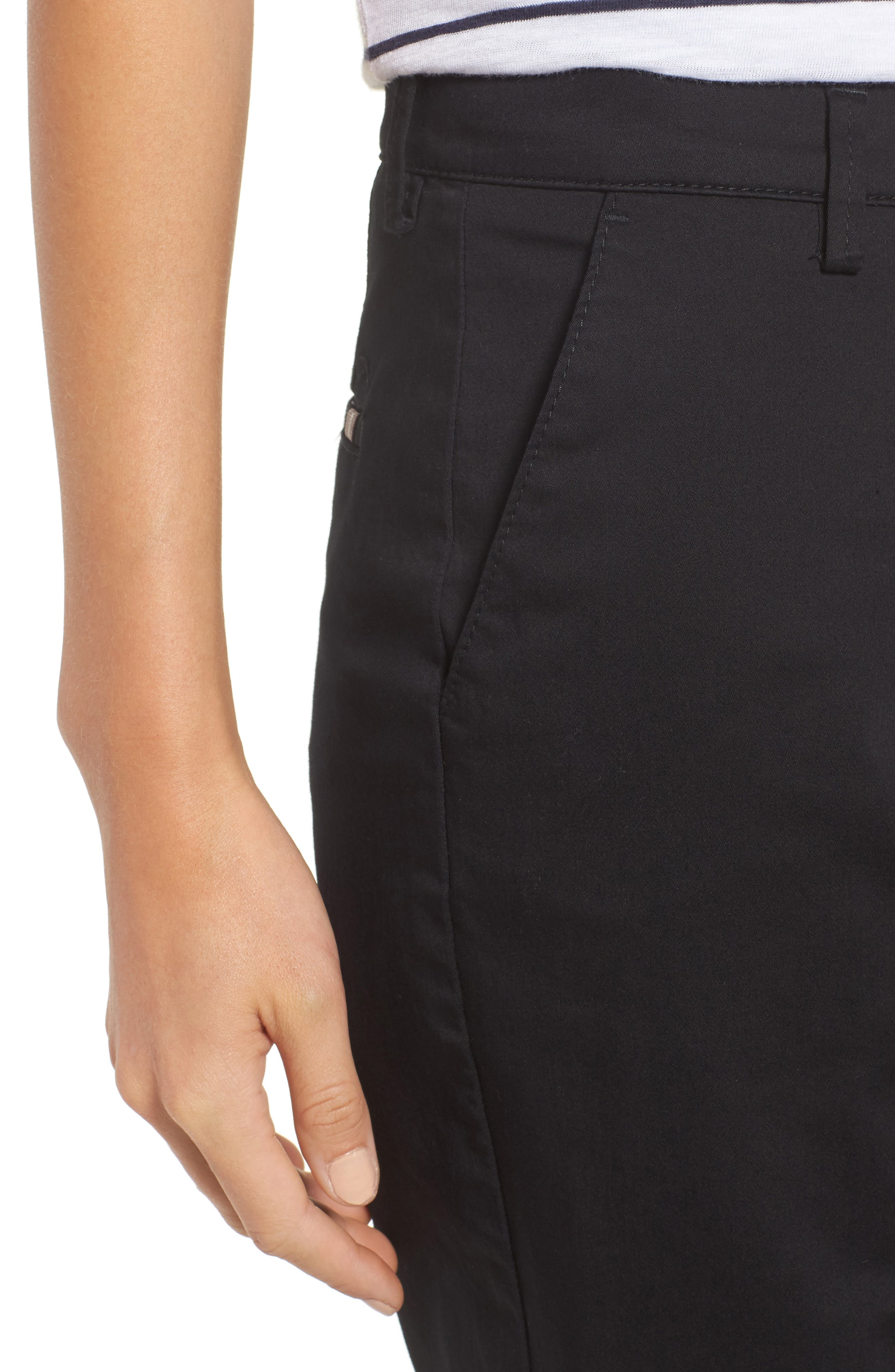 Stretch Cotton Cuff Bermuda Shorts,                             Alternate thumbnail 4, color,                             Perma Black