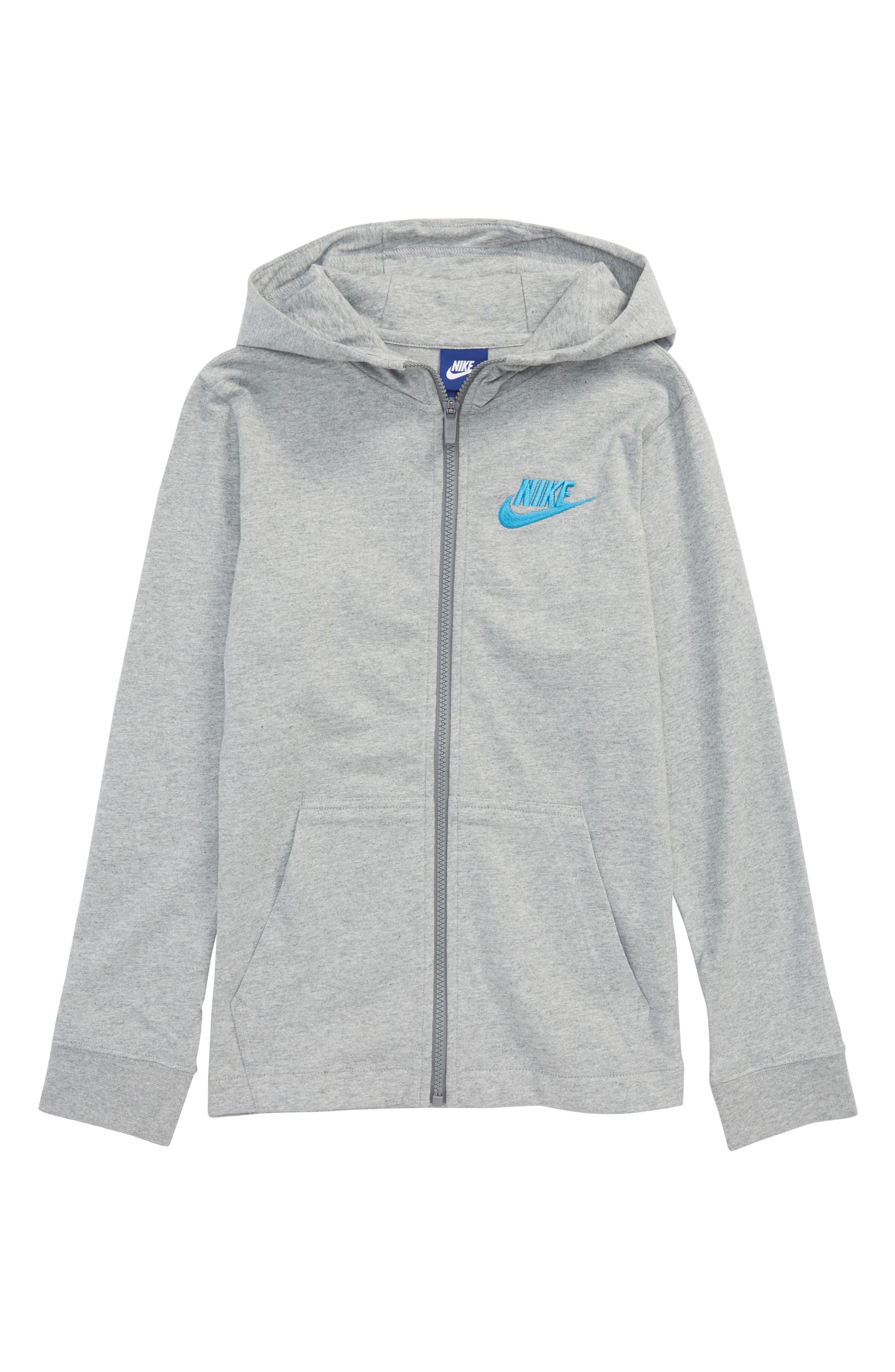 Full Zip Hoodie,                         Main,                         color, Dark Heather/ Equator Blue