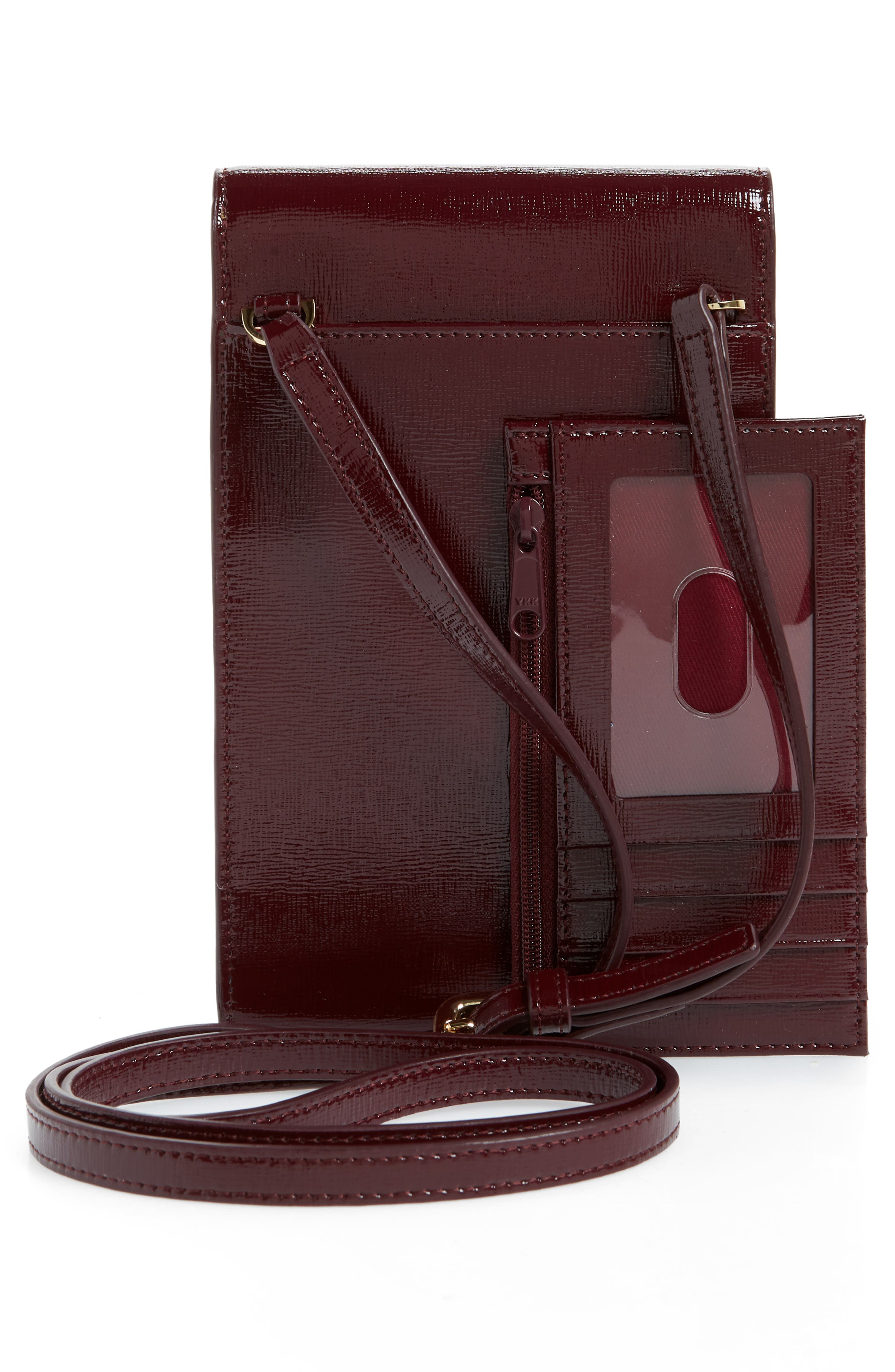 Leather Phone Crossbody Bag,                             Alternate thumbnail 3, color,                             Burgundy Royale