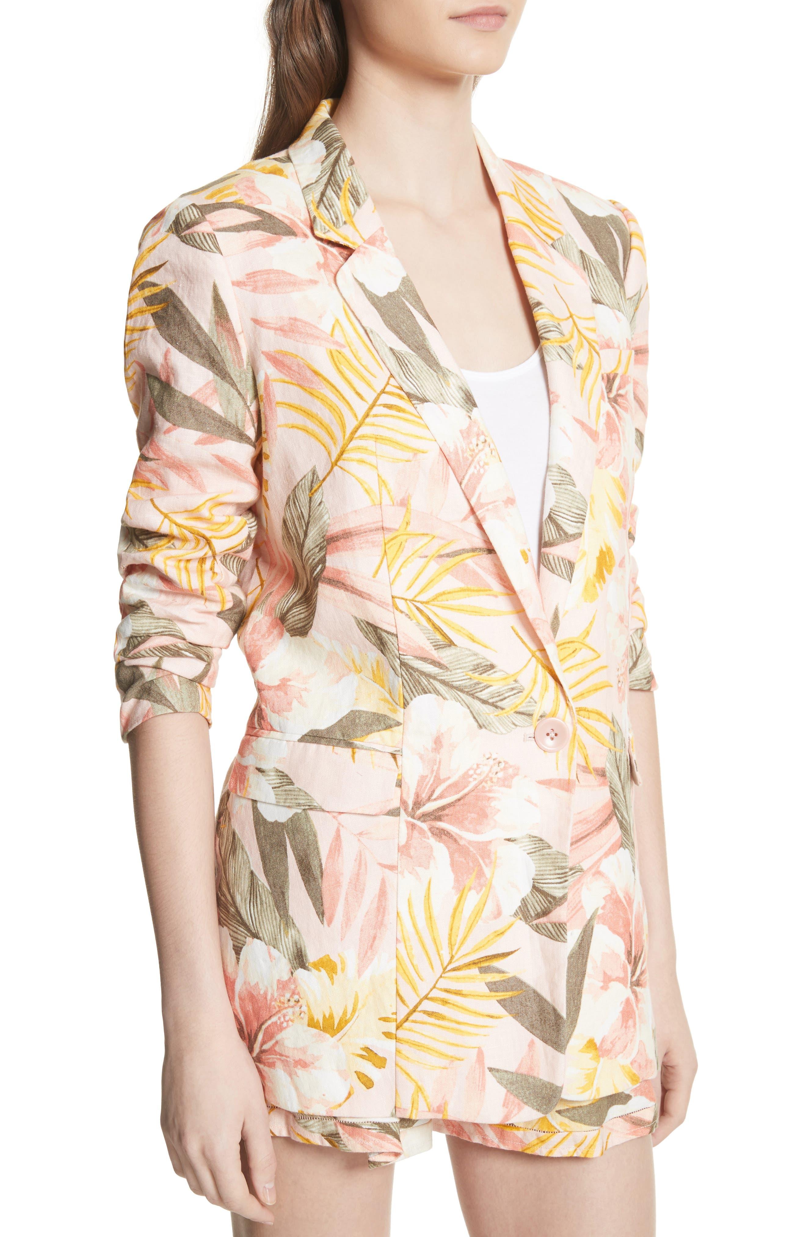 KIshina B Floral Jacket,                             Alternate thumbnail 5, color,                             Dusty Nude