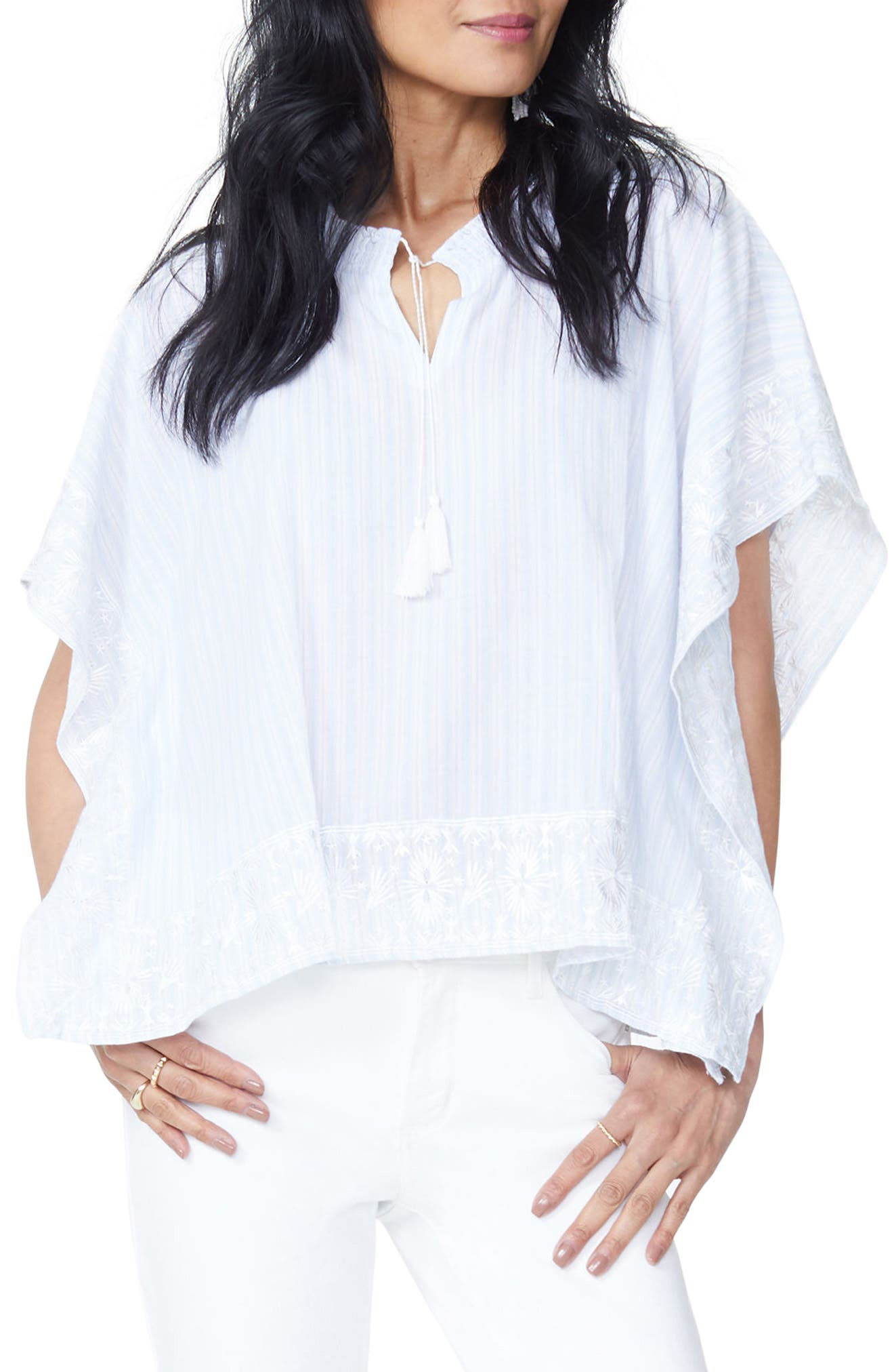 Cascade Embroidery Popover Top,                             Main thumbnail 1, color,                             Castaway Stripe Tranquility