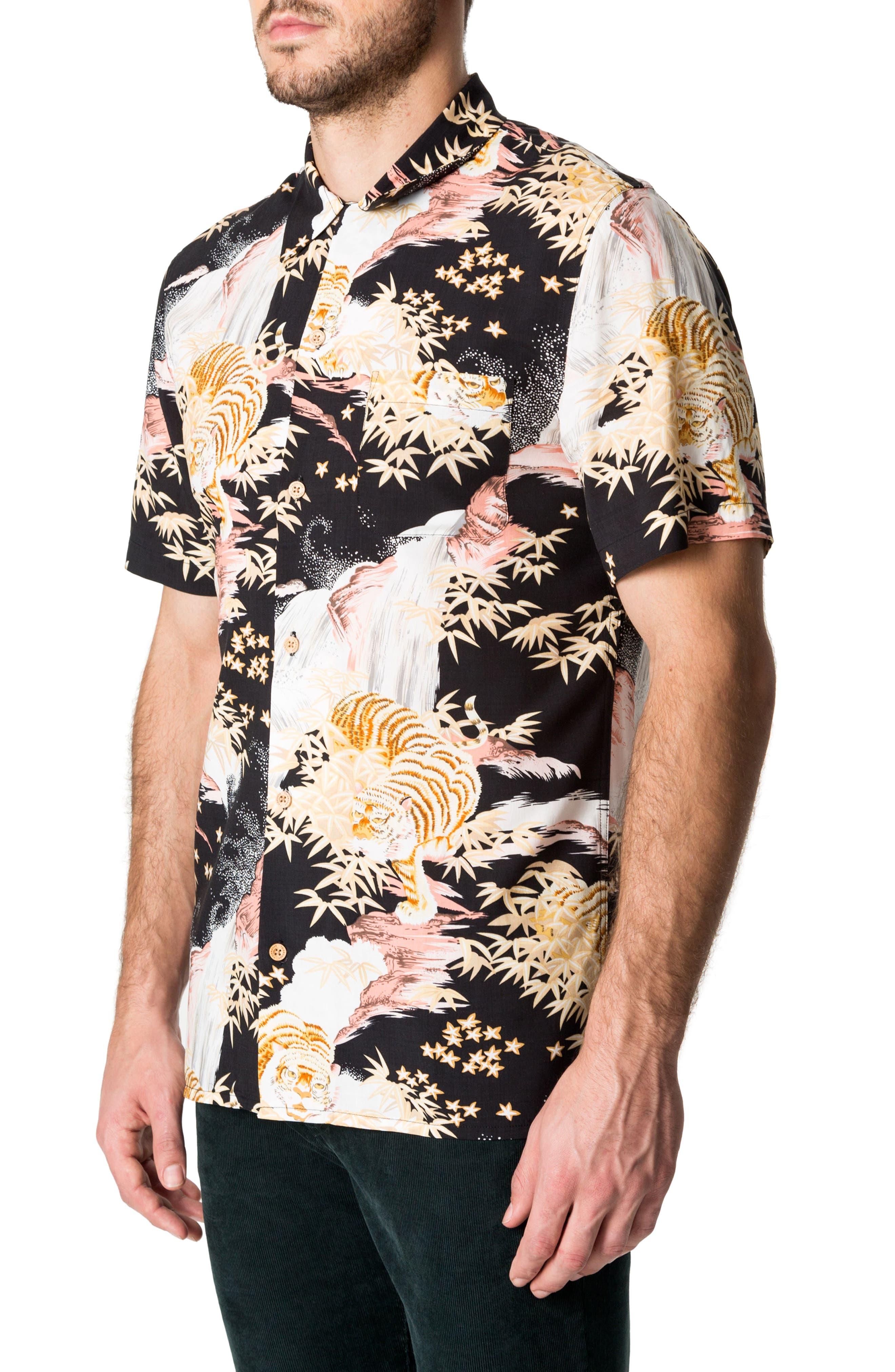 Smiling Faces Slim Fit Short Sleeve Sport Shirt,                             Alternate thumbnail 3, color,                             Black