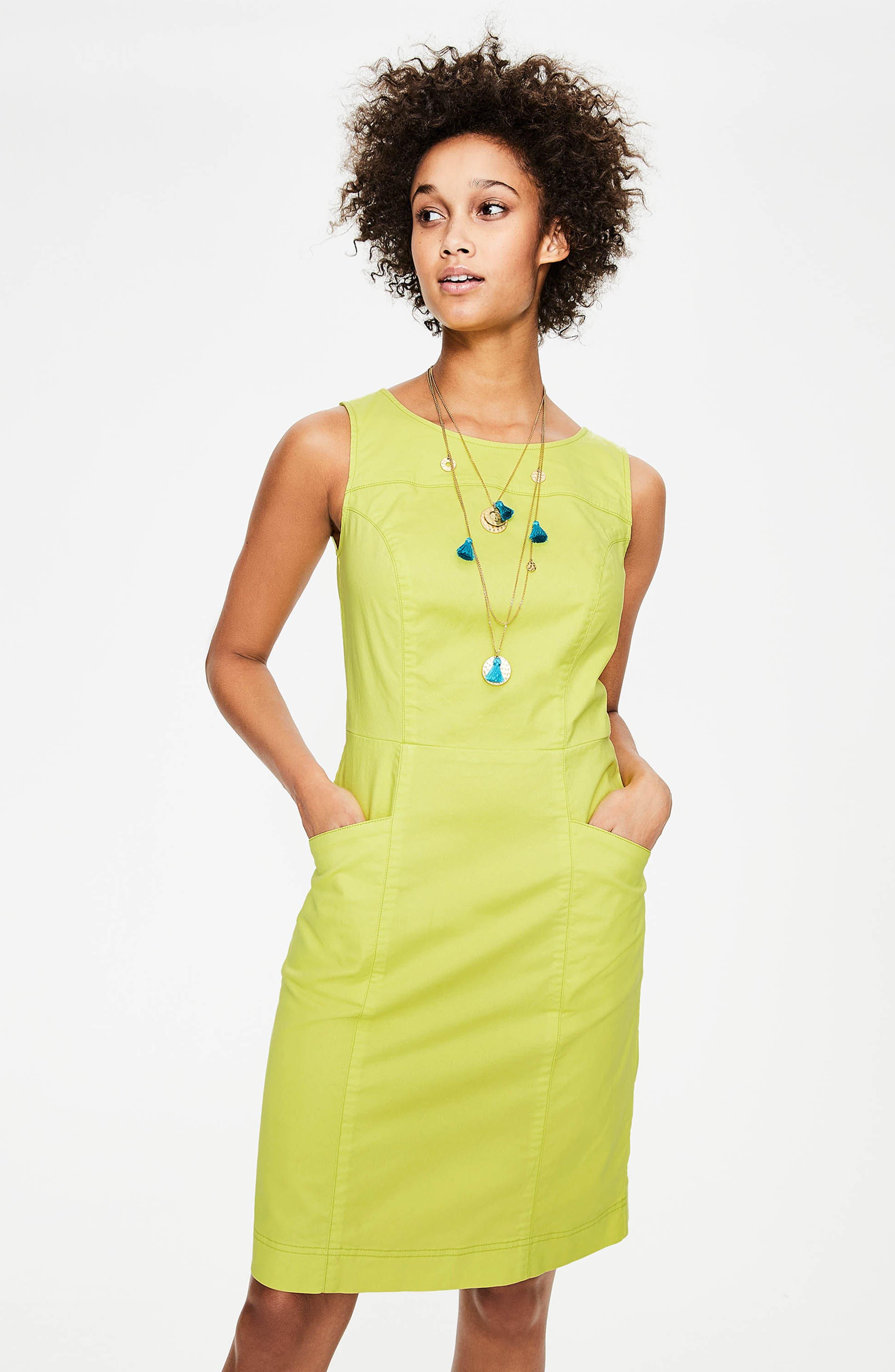 Tamara Stretch Cotton Sleeveless Dress,                             Alternate thumbnail 6, color,                             Citrus