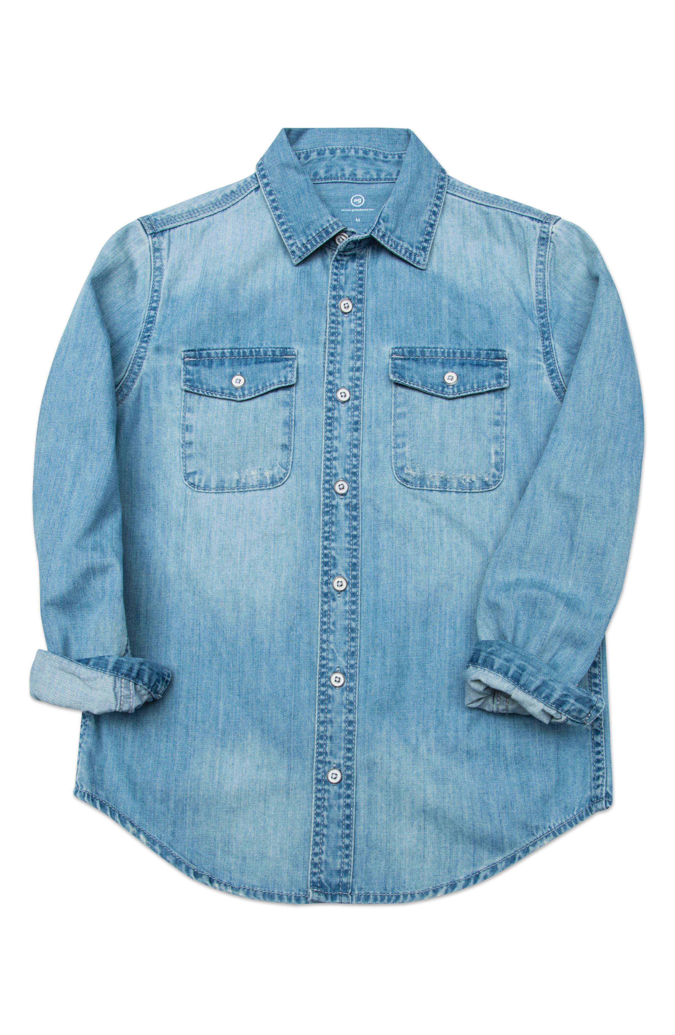 Bryon Denim Shirt,                             Main thumbnail 1, color,                             Ice