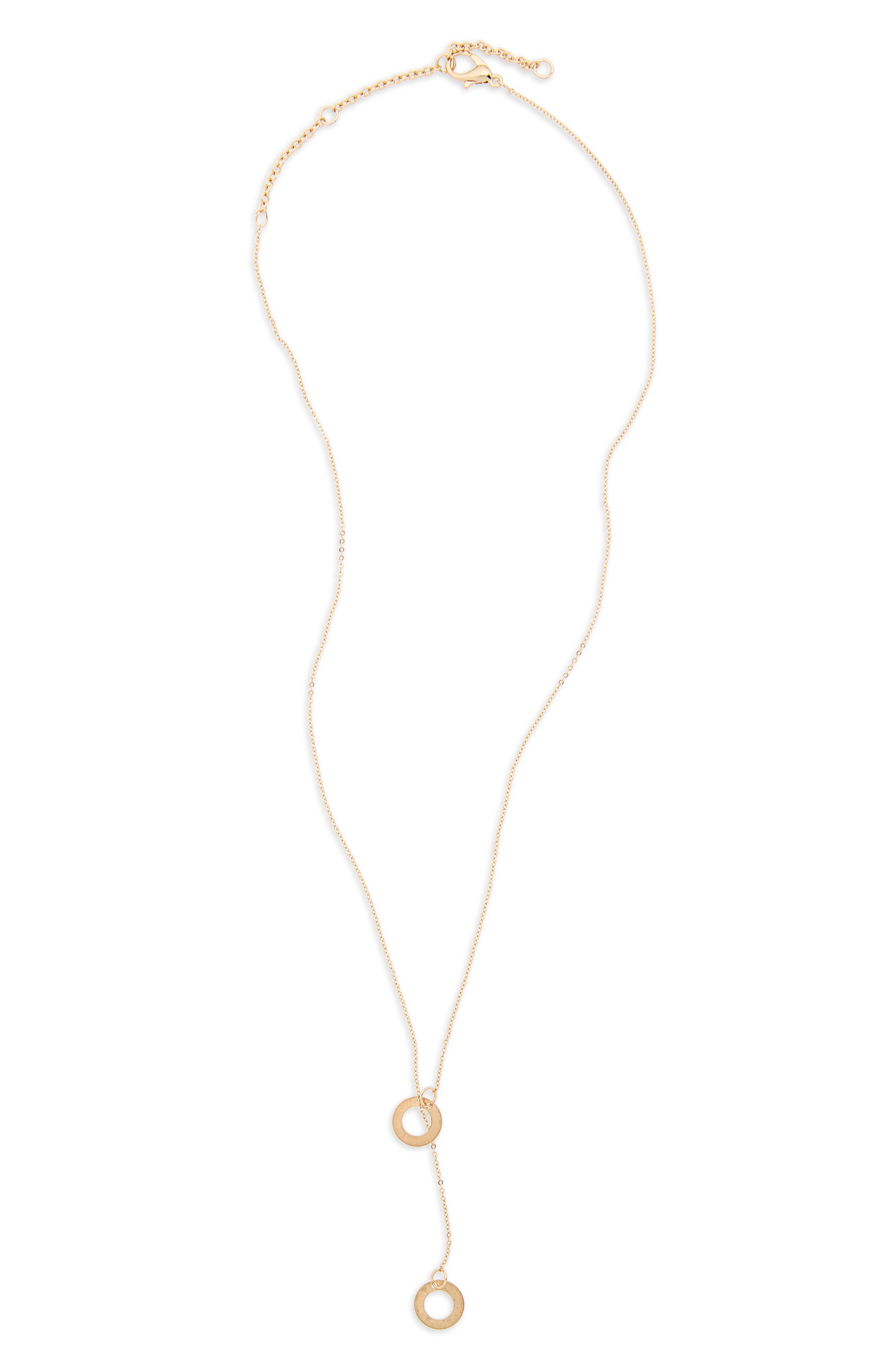Disc Lariat Necklace,                         Main,                         color, Gold