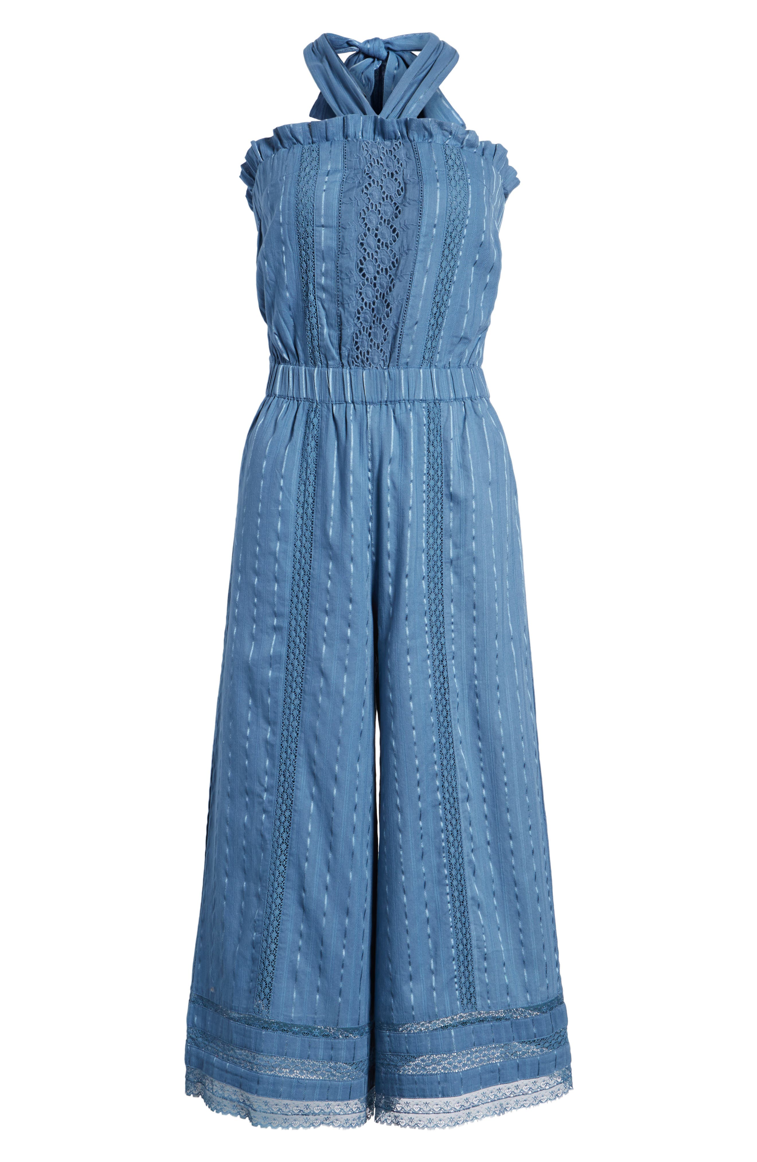 Suri Halter Crop Jumpsuit,                             Alternate thumbnail 7, color,                             Horizon Blue