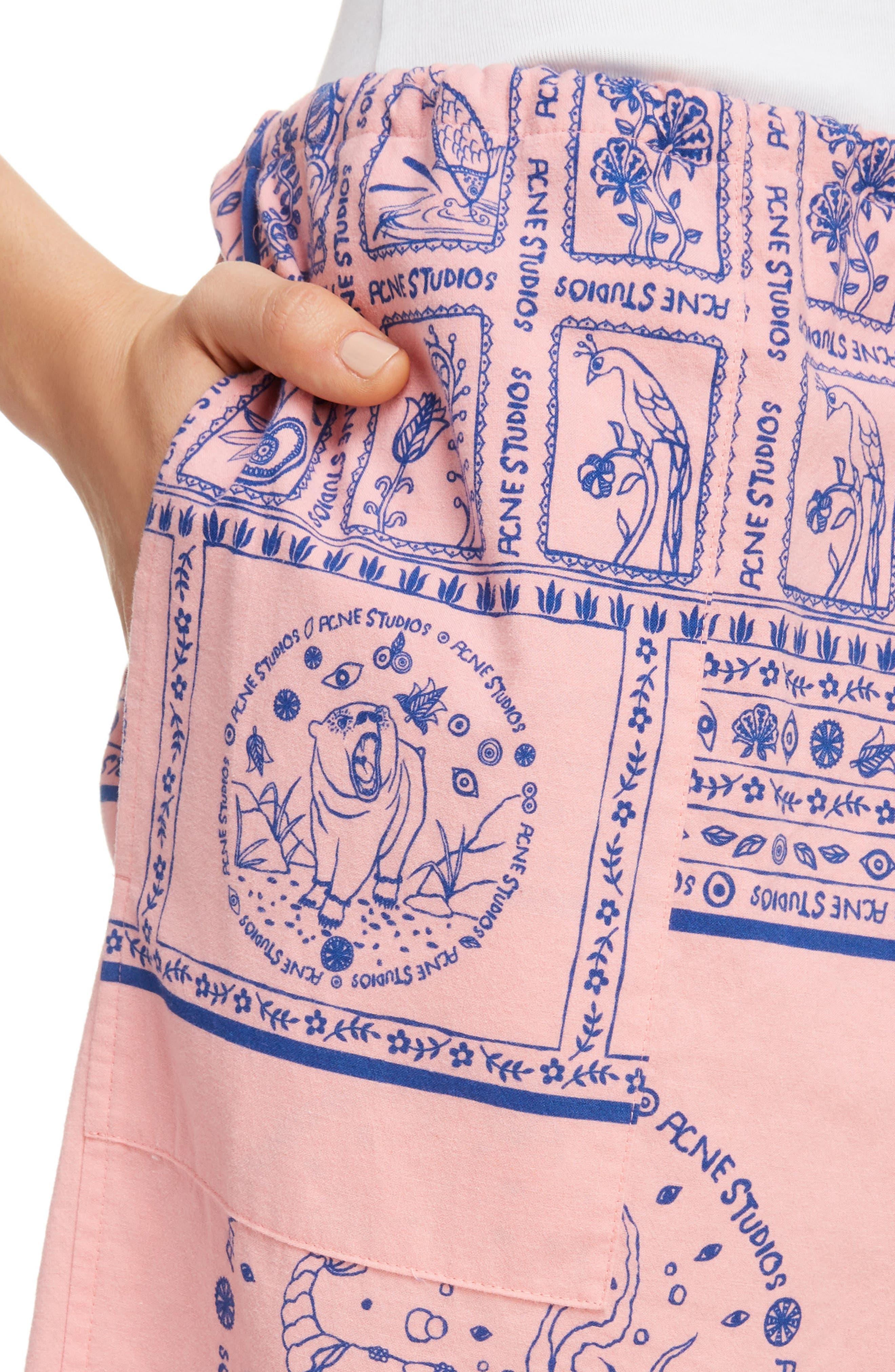 Nejlika Print Shorts,                             Alternate thumbnail 5, color,                             Pink Block Print