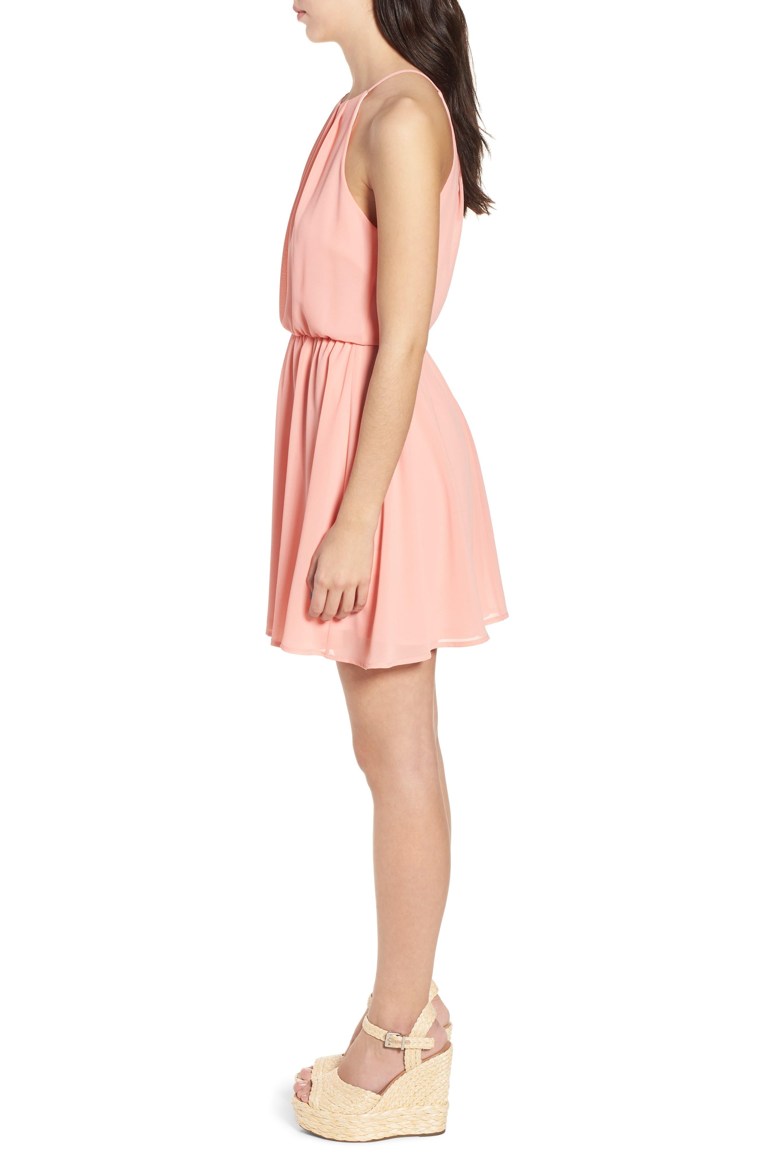 Blouson Chiffon Skater Dress,                             Alternate thumbnail 4, color,                             Peach