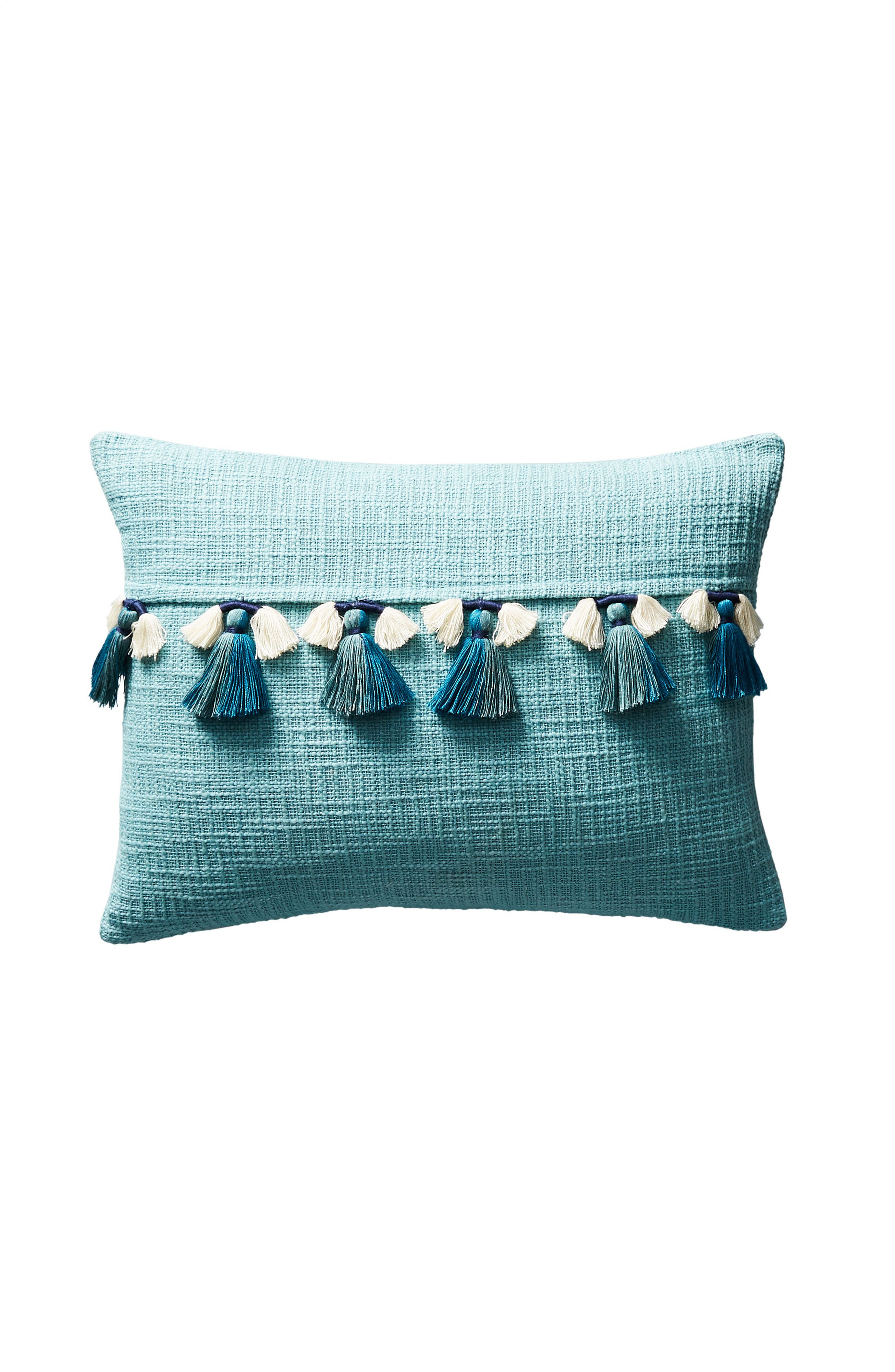 Varied Tassel Accent Pillow,                             Alternate thumbnail 4, color,                             Blue