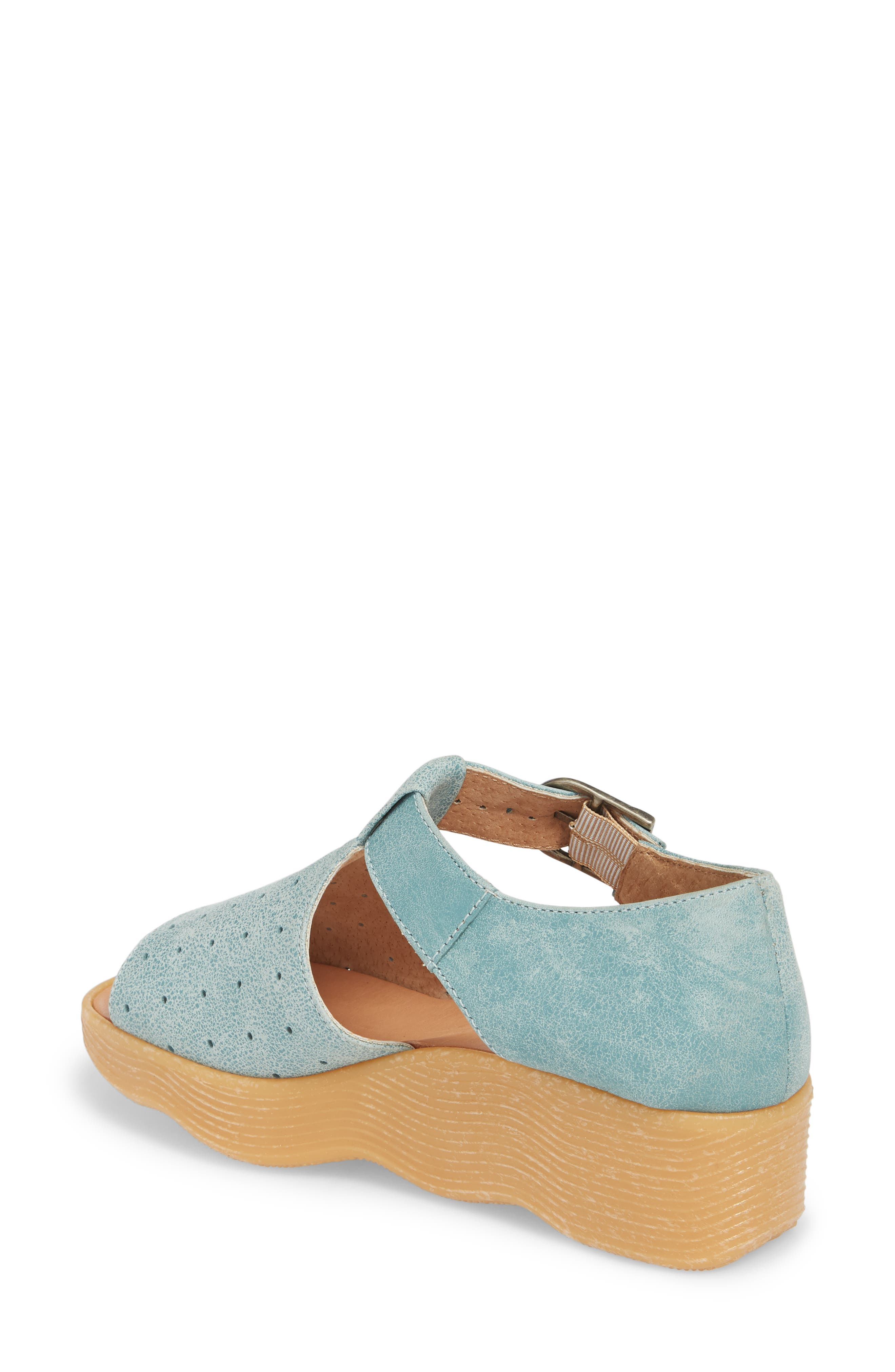 Holey Moley Wedge Sandal,                             Alternate thumbnail 2, color,                             Aqua Mix Leather
