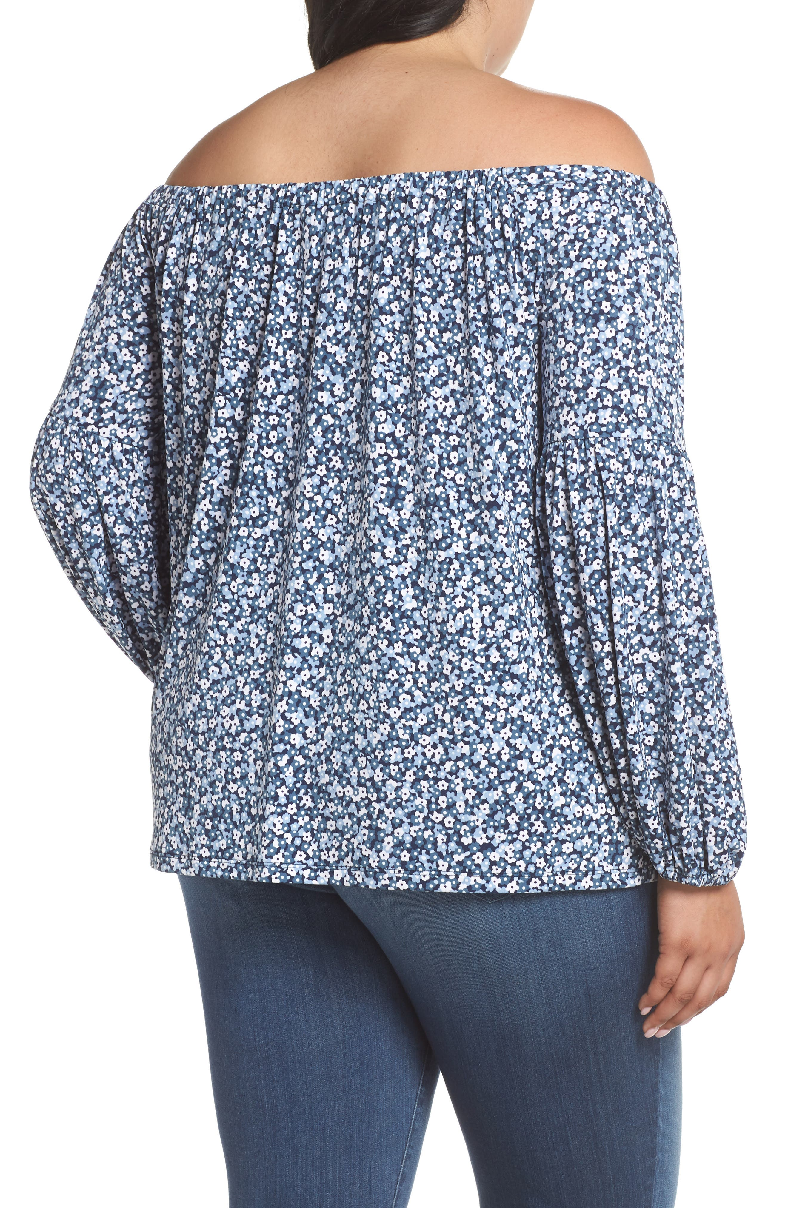 Collage Floral Off the Shoulder Top,                             Alternate thumbnail 2, color,                             True Navy/ Light Chambray