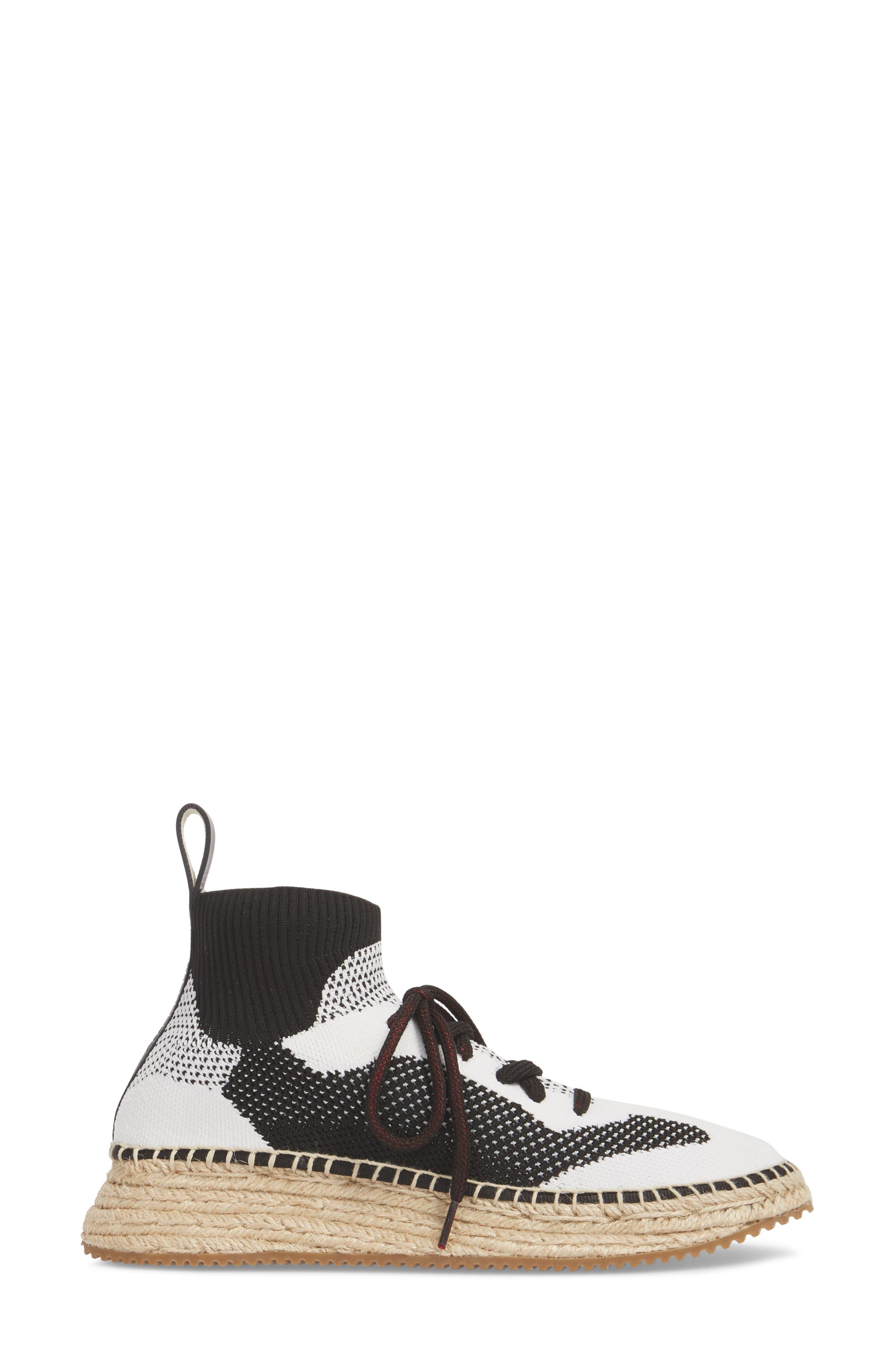 Dakota Espadrille Sock Sneaker,                             Alternate thumbnail 3, color,                             Black/ White/ Grey