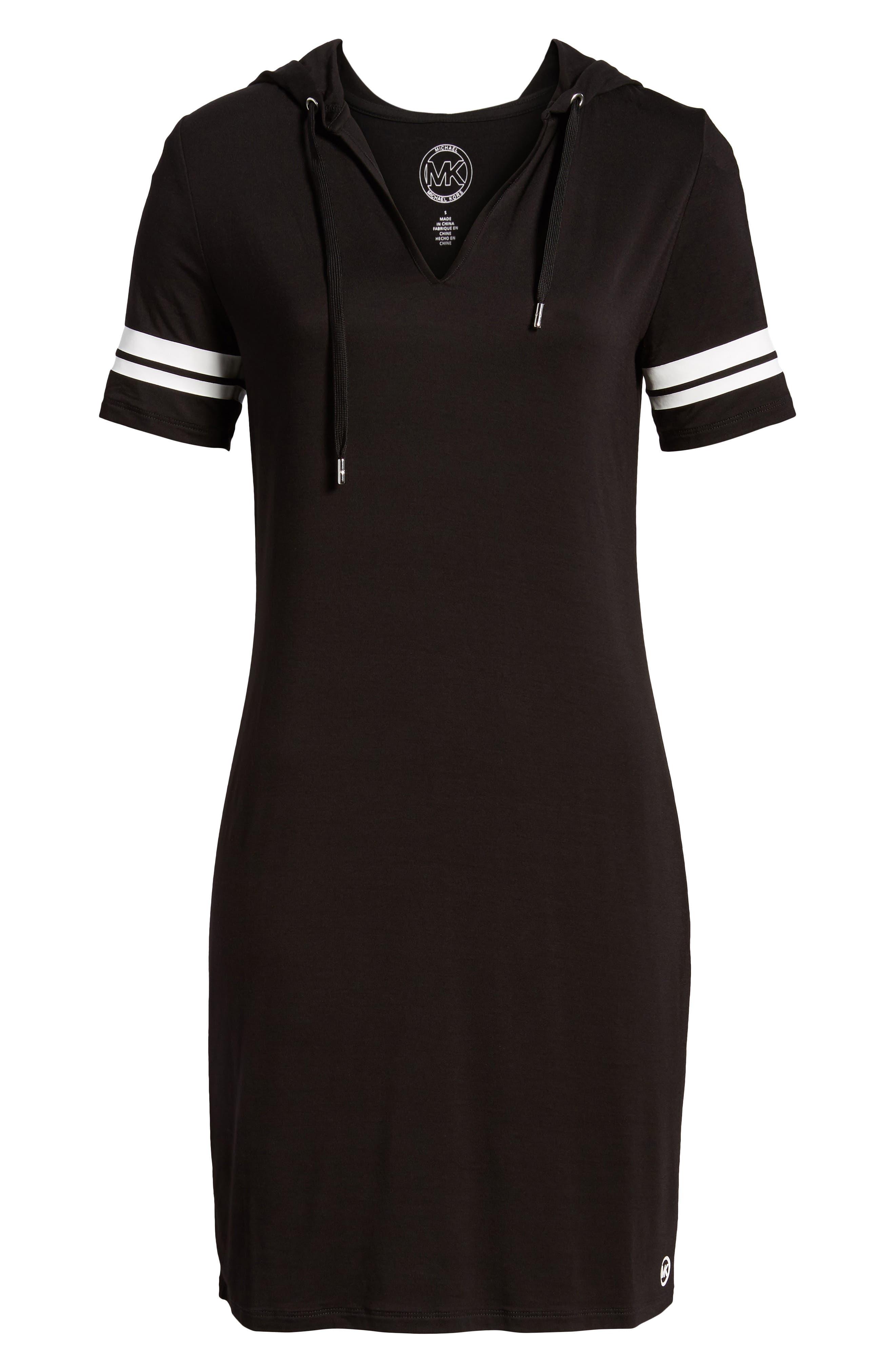 MICHAEL Michal Kors Stripe Sleeve Hoodie Dress,                             Alternate thumbnail 7, color,                             Black